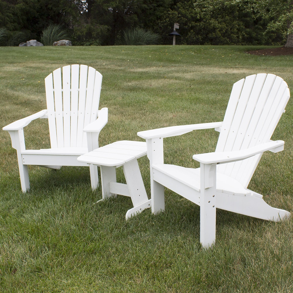 White Painted Adirondack Chairs And Side Table By Seaside Casual Furniture  Co.