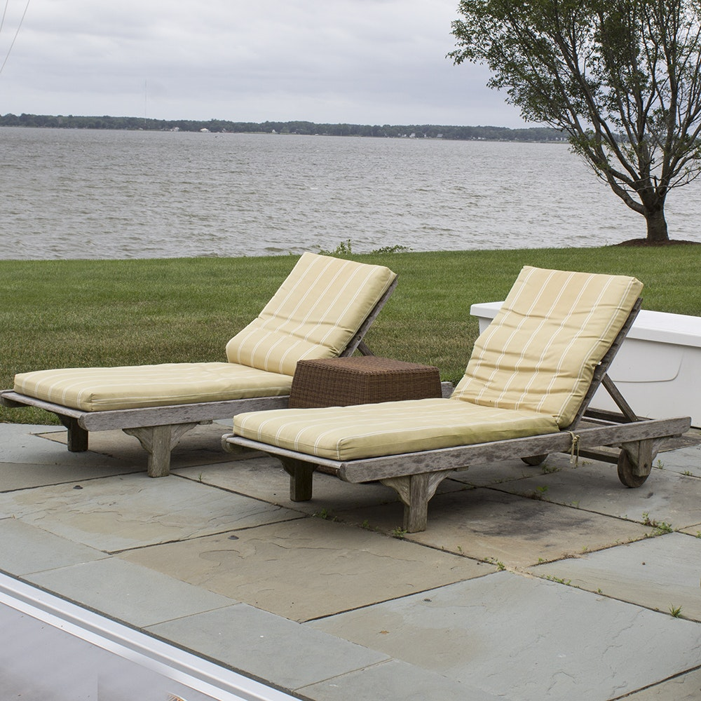Smith U0026 Hawken Wooden Pool Lounge Chairs With Cushions With Resin Side  Table ...