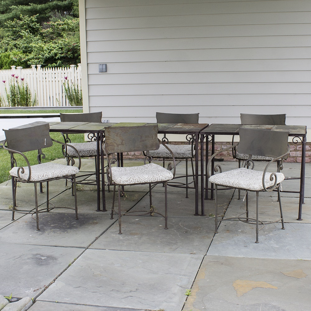 Vintage Cast Iron and Slate Patio Tables with Armchairs