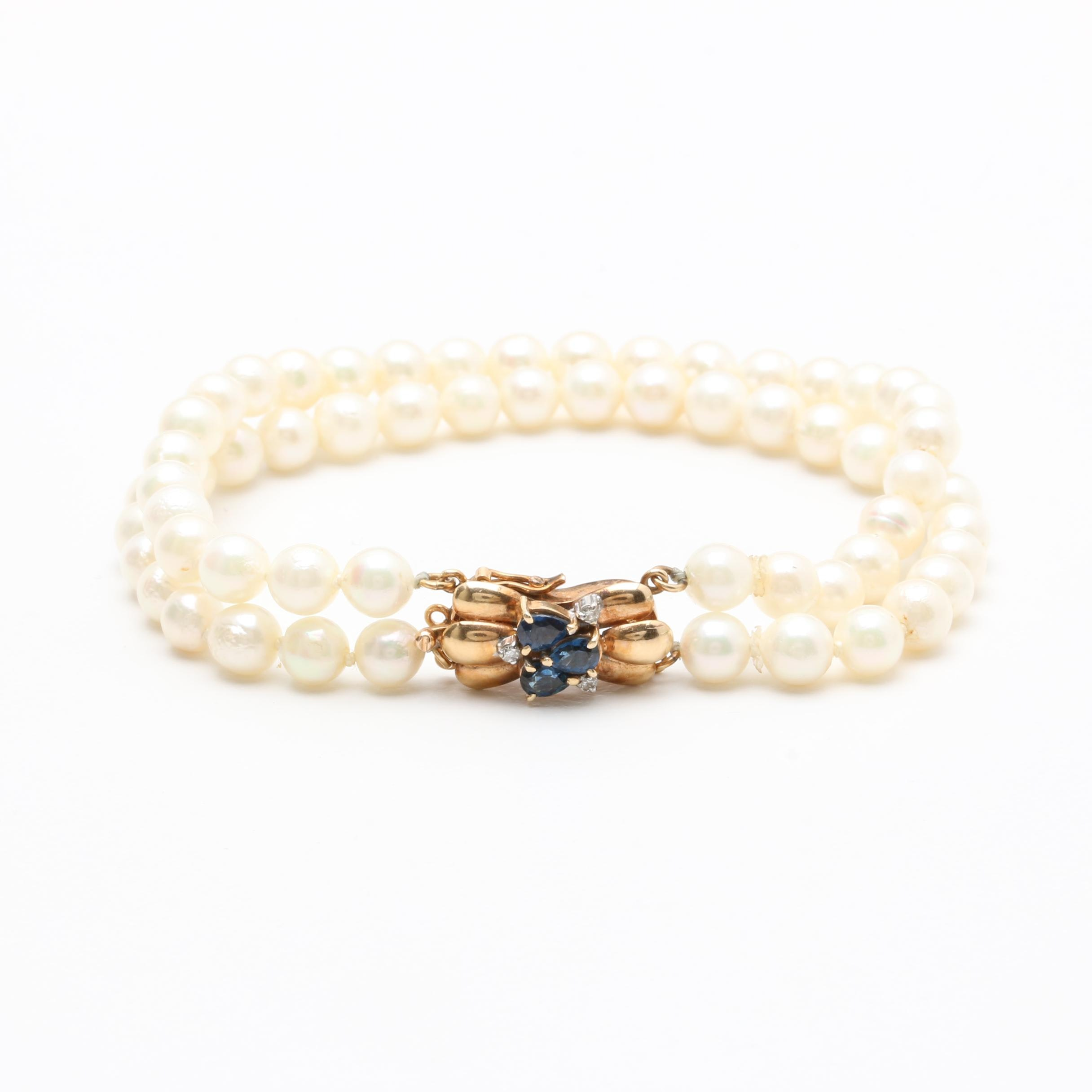 14K Yellow Gold Cultured Pearl, Sapphire, and Diamond Bracelet