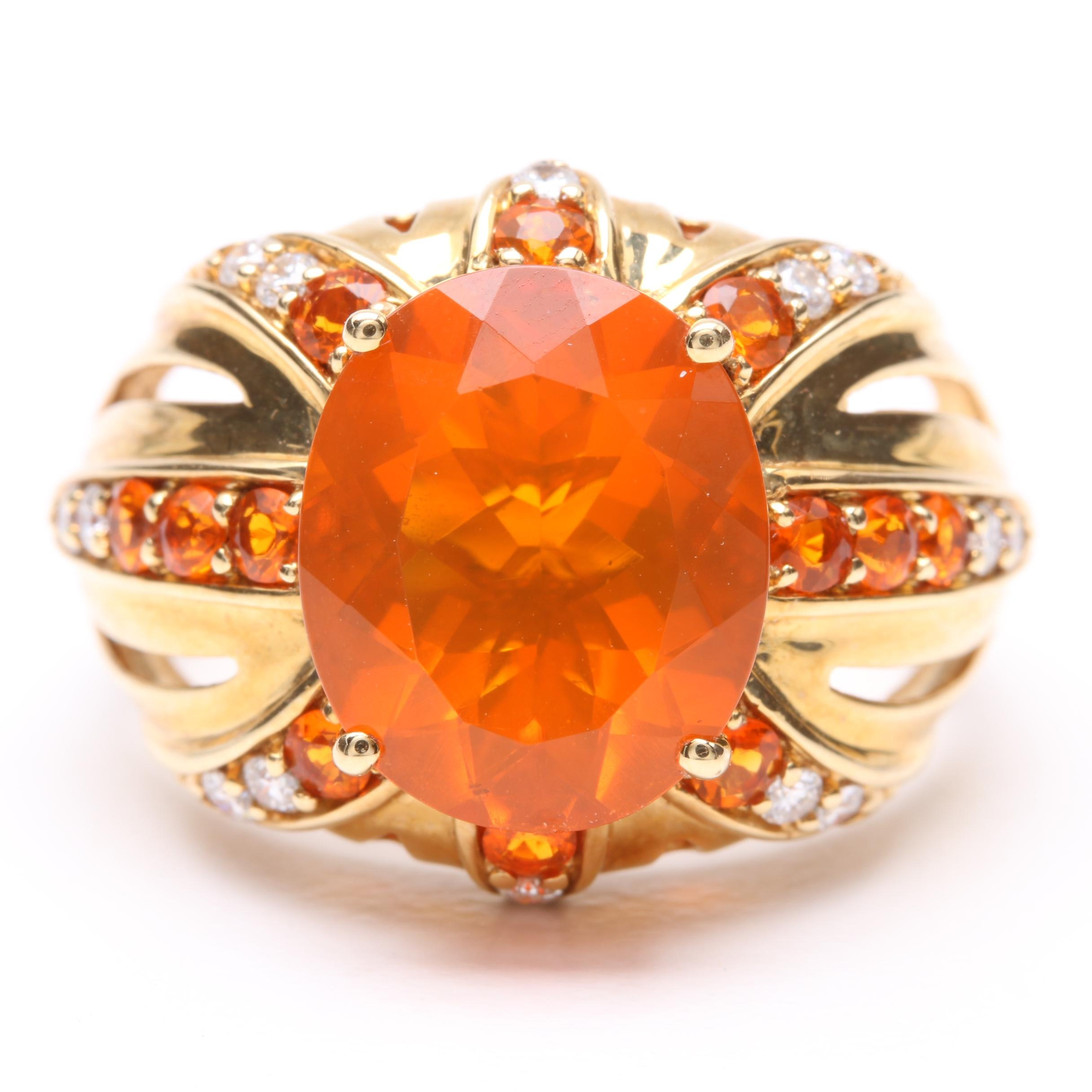 18K Yellow Gold Fire Opal and Diamond Statement Ring