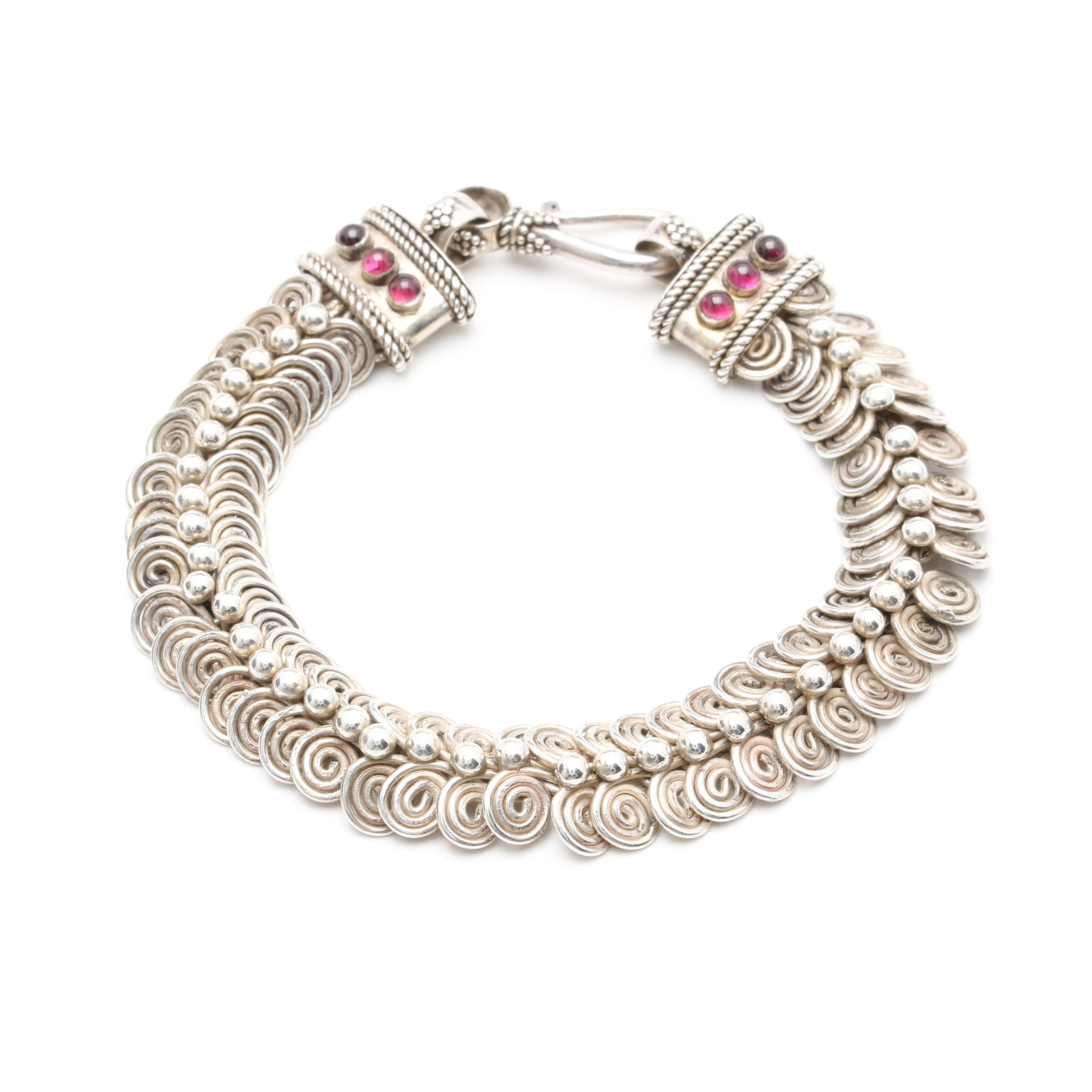 Sterling Silver Rhodolite Garnet Fancy Link Bracelet