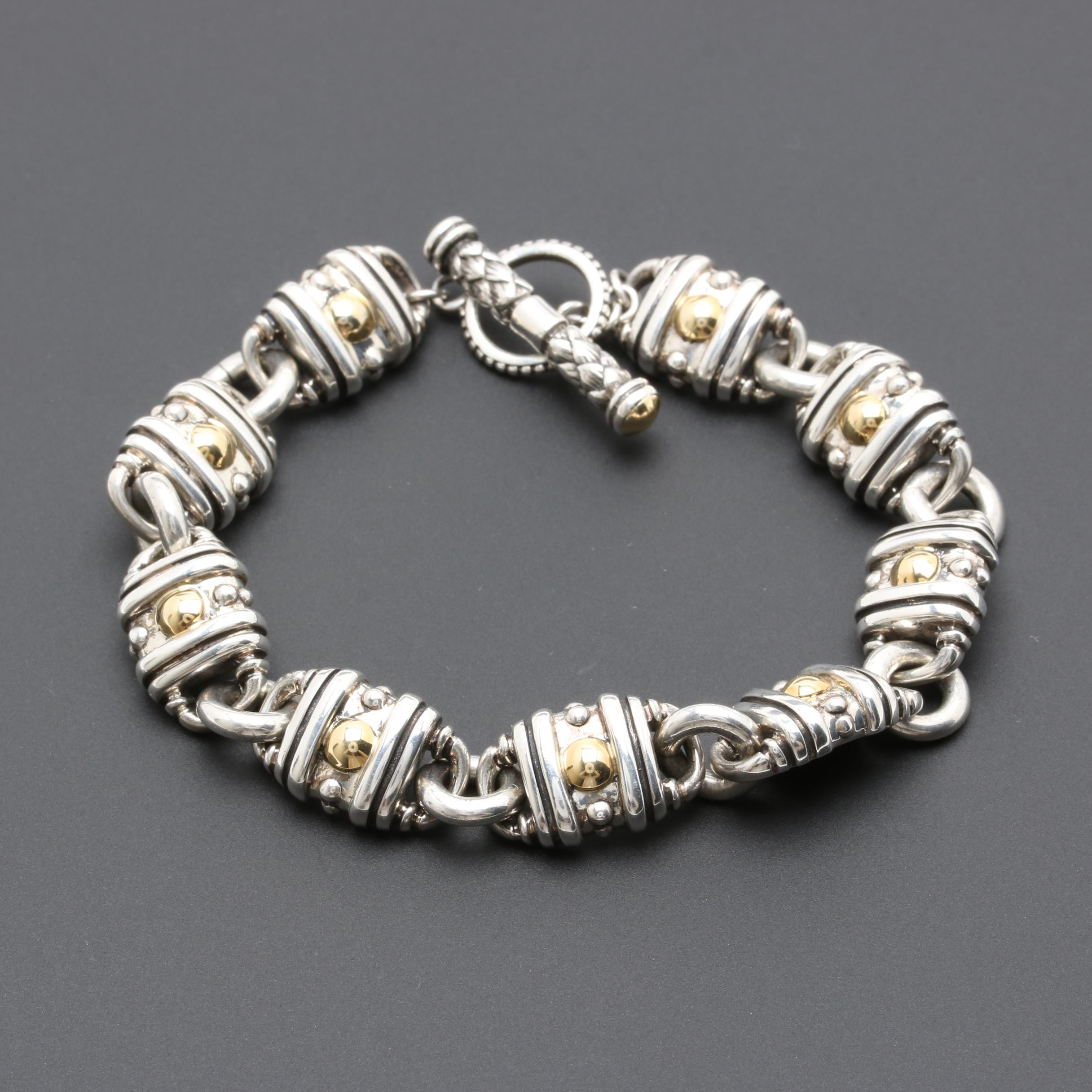 Sterling Silver Custom Link Bracelet with Gold Wash Accents