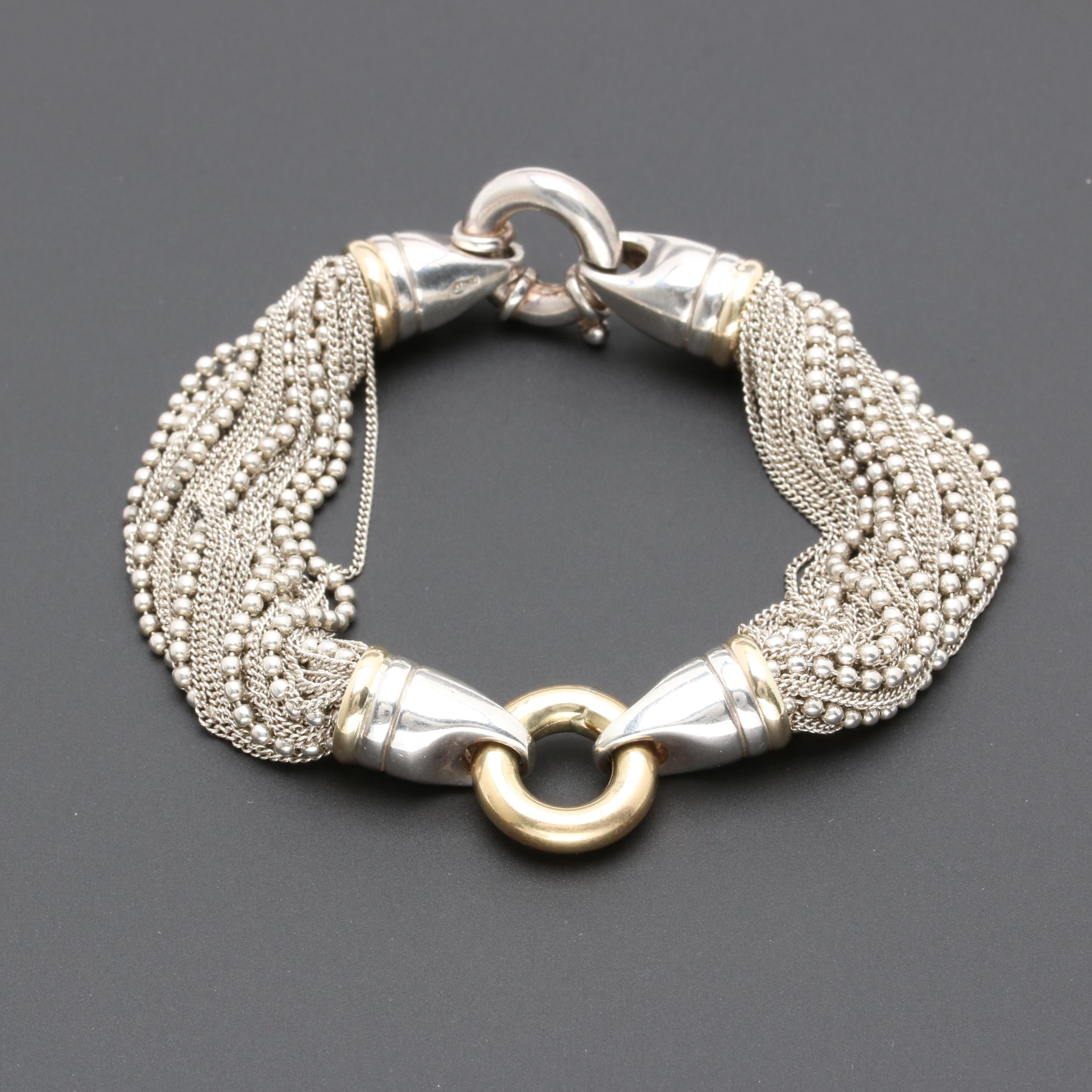 Italian Sterling Silver Bracelet with 18K Yellow Gold Accents