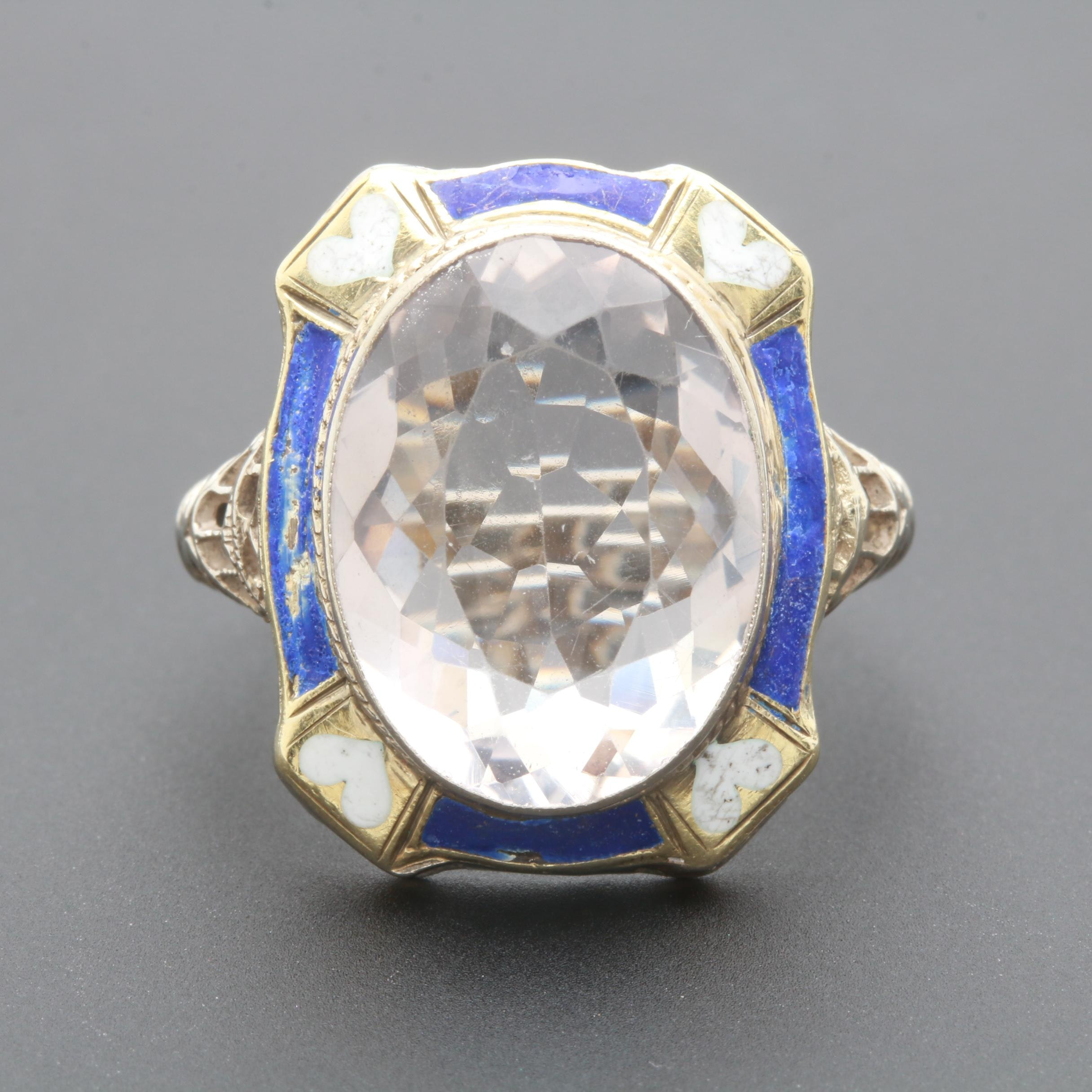 Circa 1930s 14K White Gold Clear Quartz and Enamel Ring