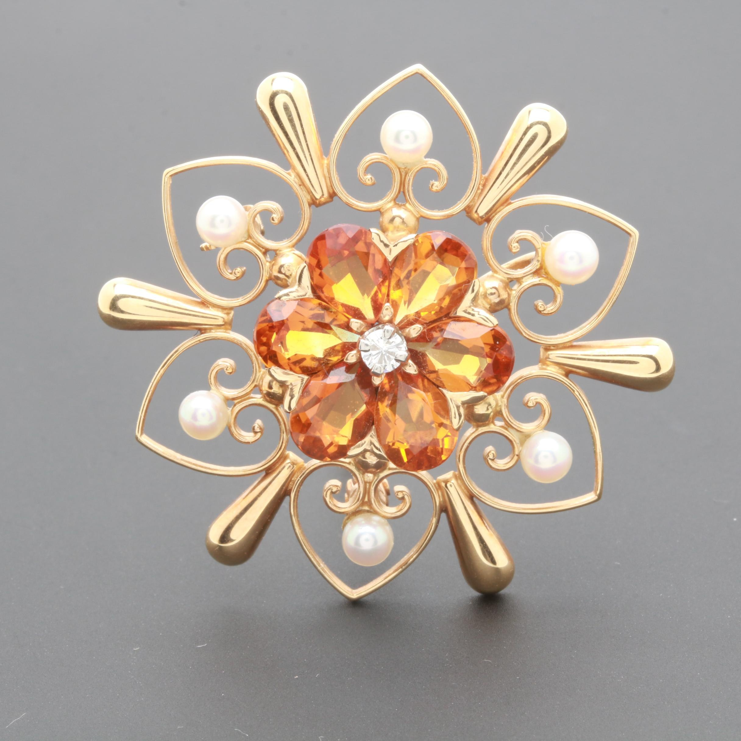 Vintage 14K Yellow Gold Citrine, Cultured Pearl and Diamond Floral Brooch