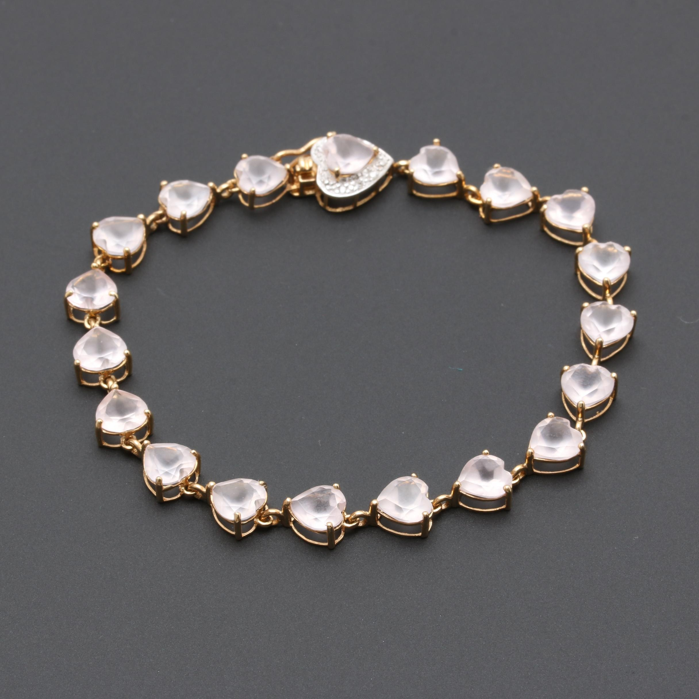 14K Yellow Gold Rose Quartz and Diamond Bracelet