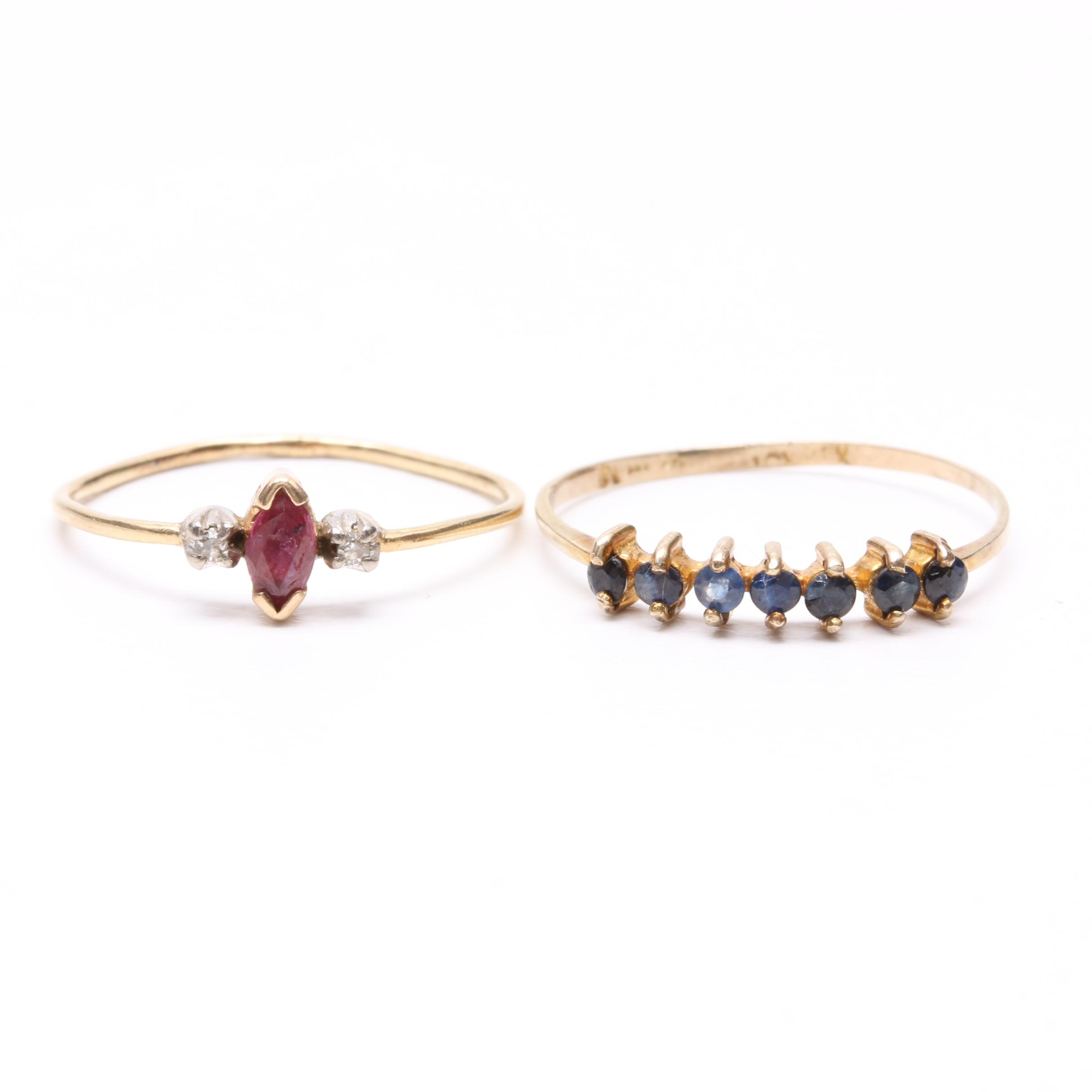 10K and 14K Yellow Gold Gemstone Rings Including Diamond