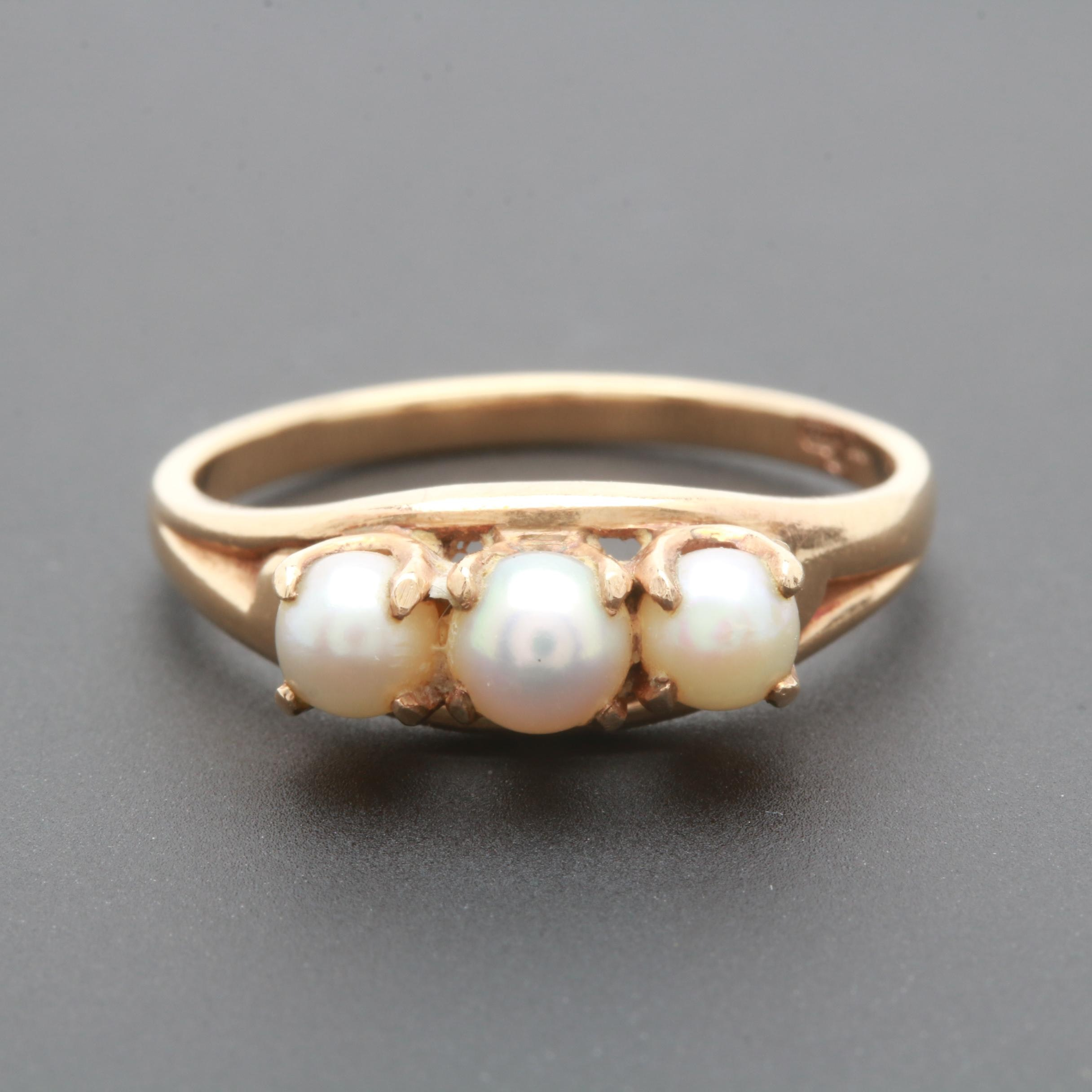 10K Yellow Gold Cultured Pearl Three-Stone Ring