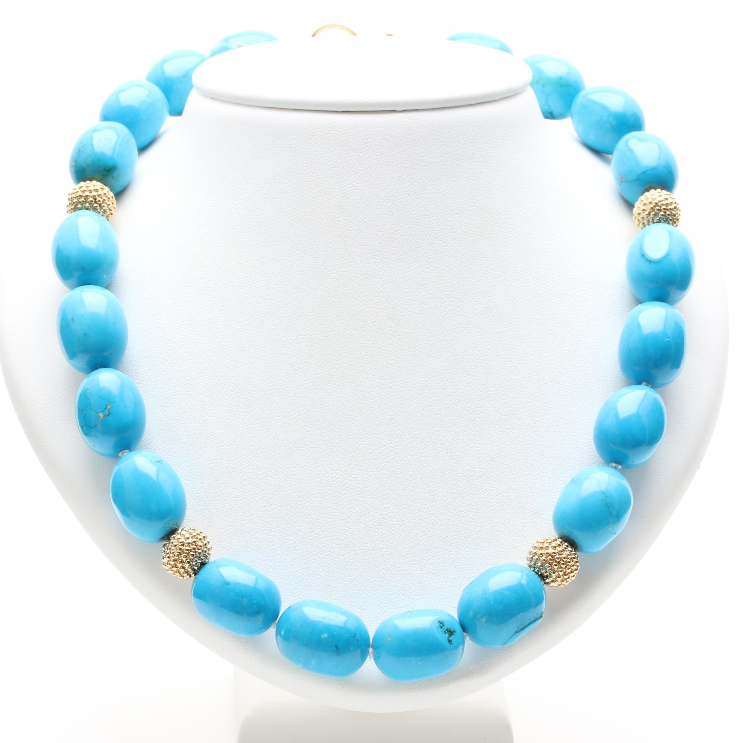 AYA 14K and 18K Yellow Gold Magnesite Beaded Necklace