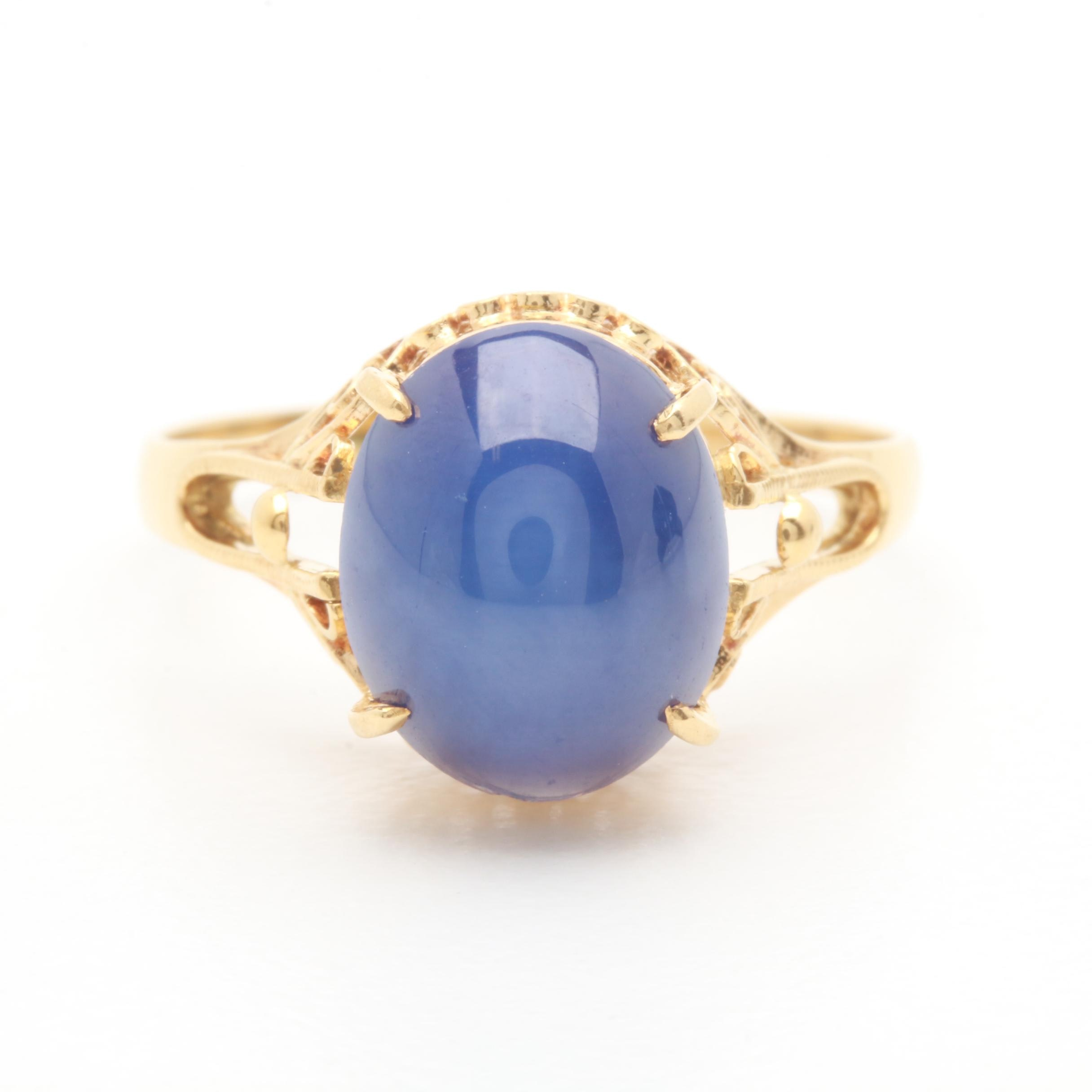 18K Yellow Gold Synthetic Star Sapphire Ring