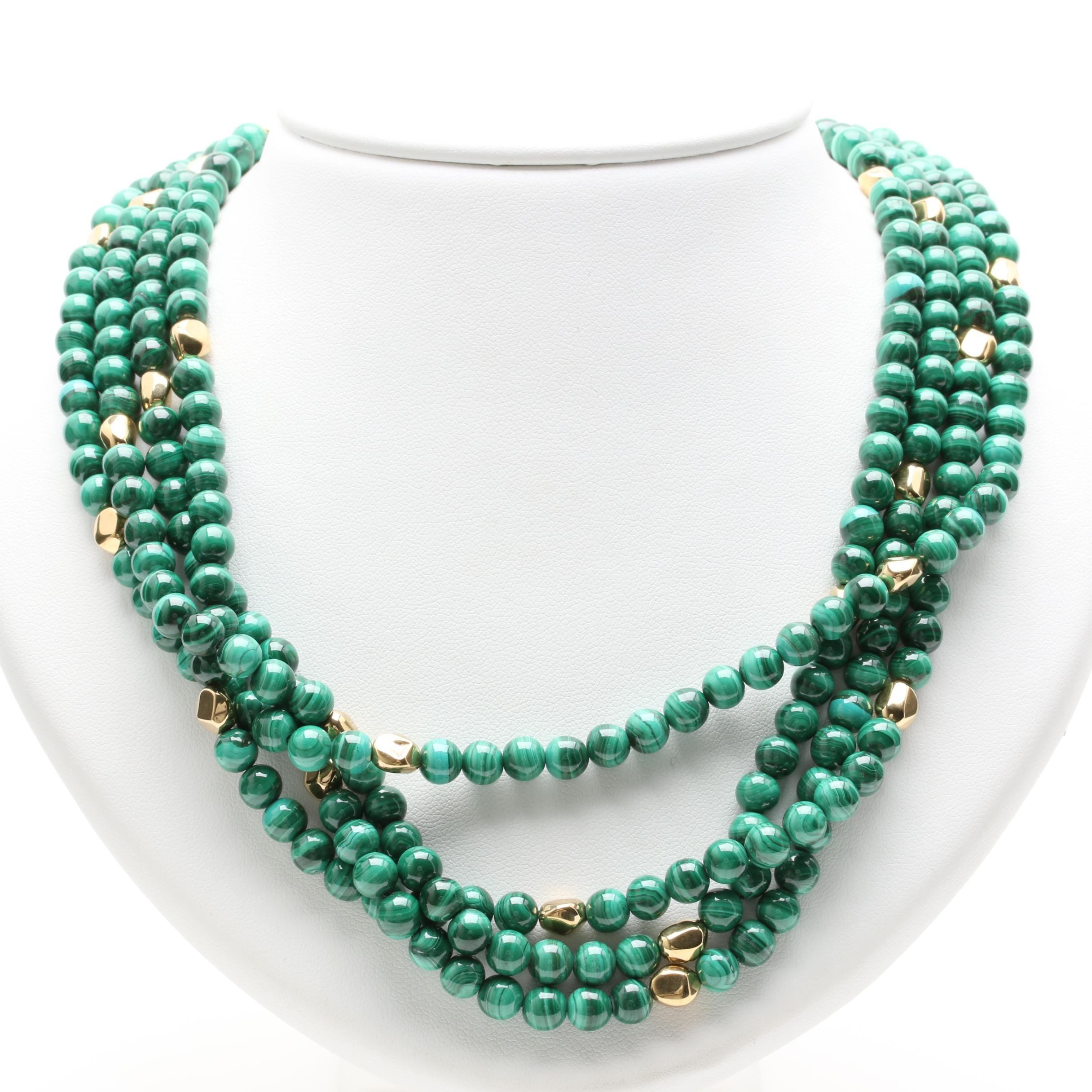 14K and 18K Yellow Gold Malachite Necklace