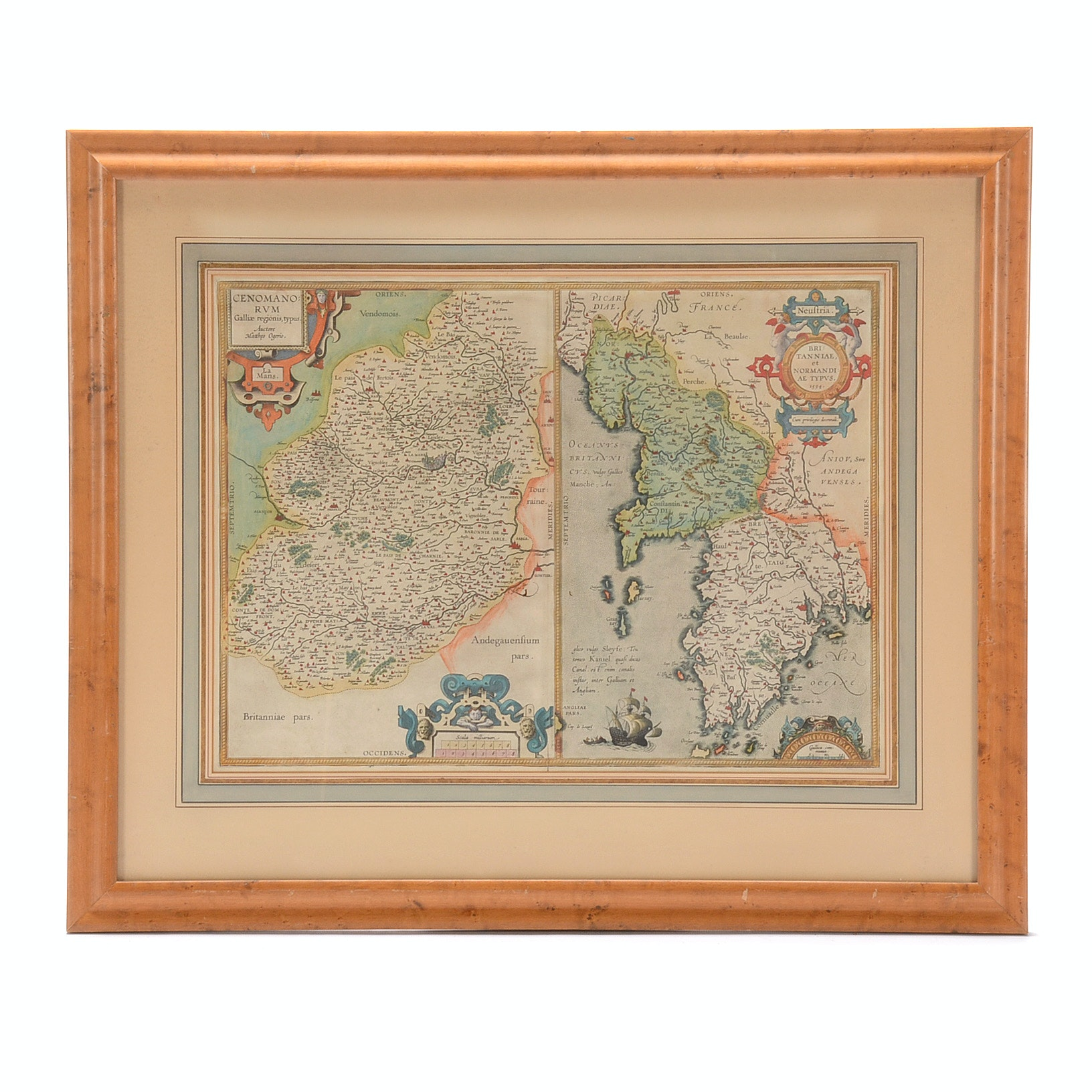 1603 Abraham Ortelius Hand-Colored Engraved Map of Normandy and Brittany