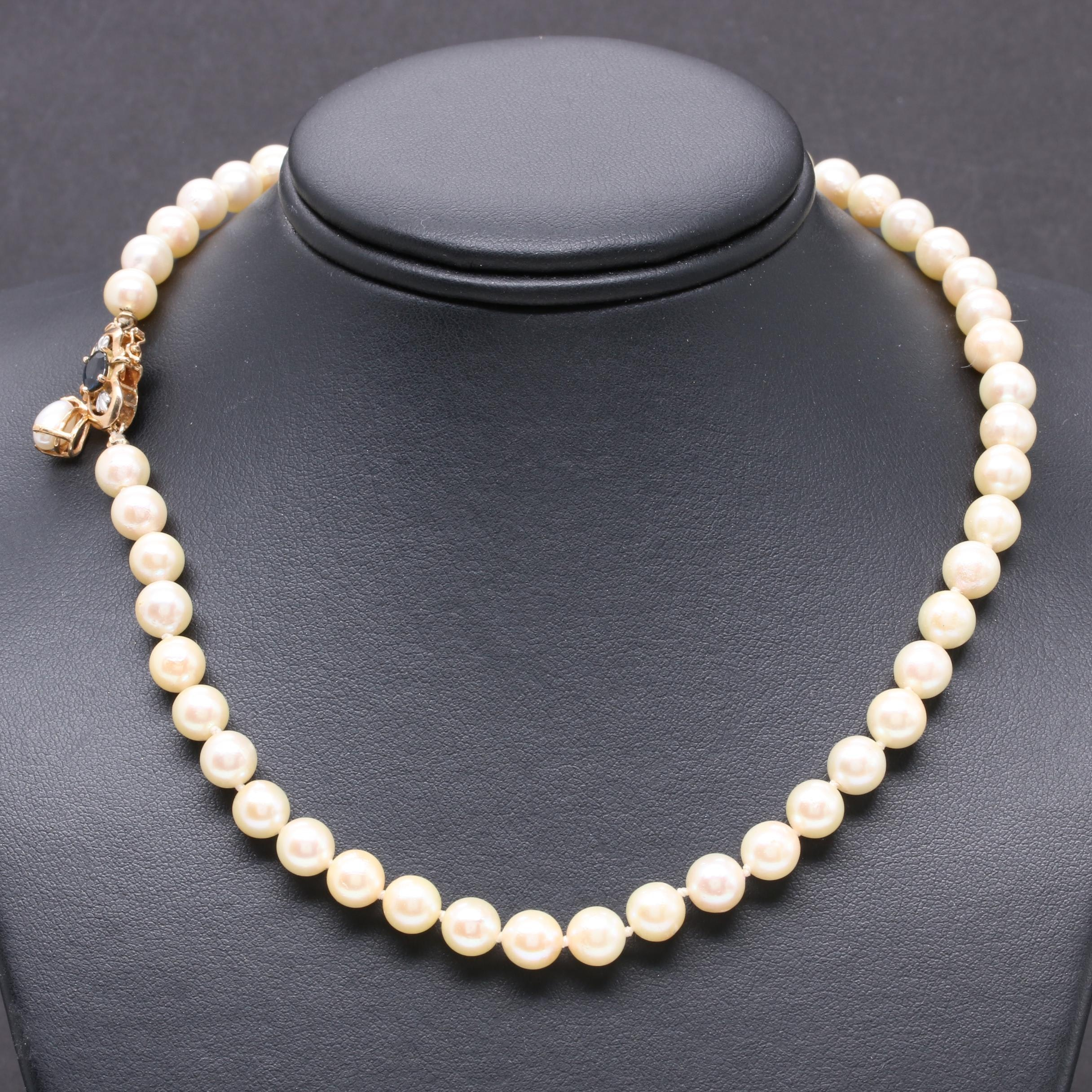 14K Yellow Gold Sapphire and Cultured Pearl Necklace