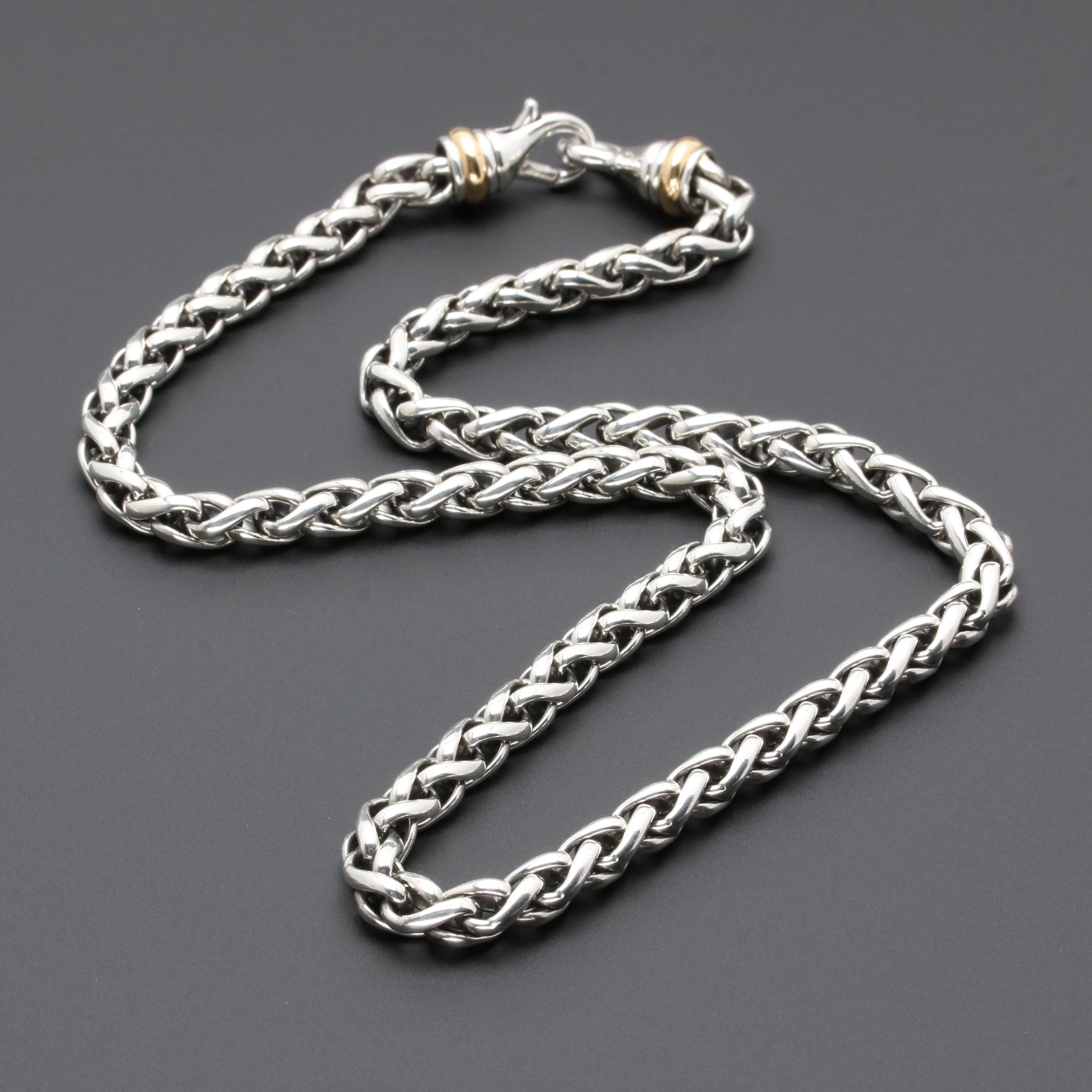 David Yurman Sterling Silver Wheat Chain Necklace with 18K Yellow Gold Accents