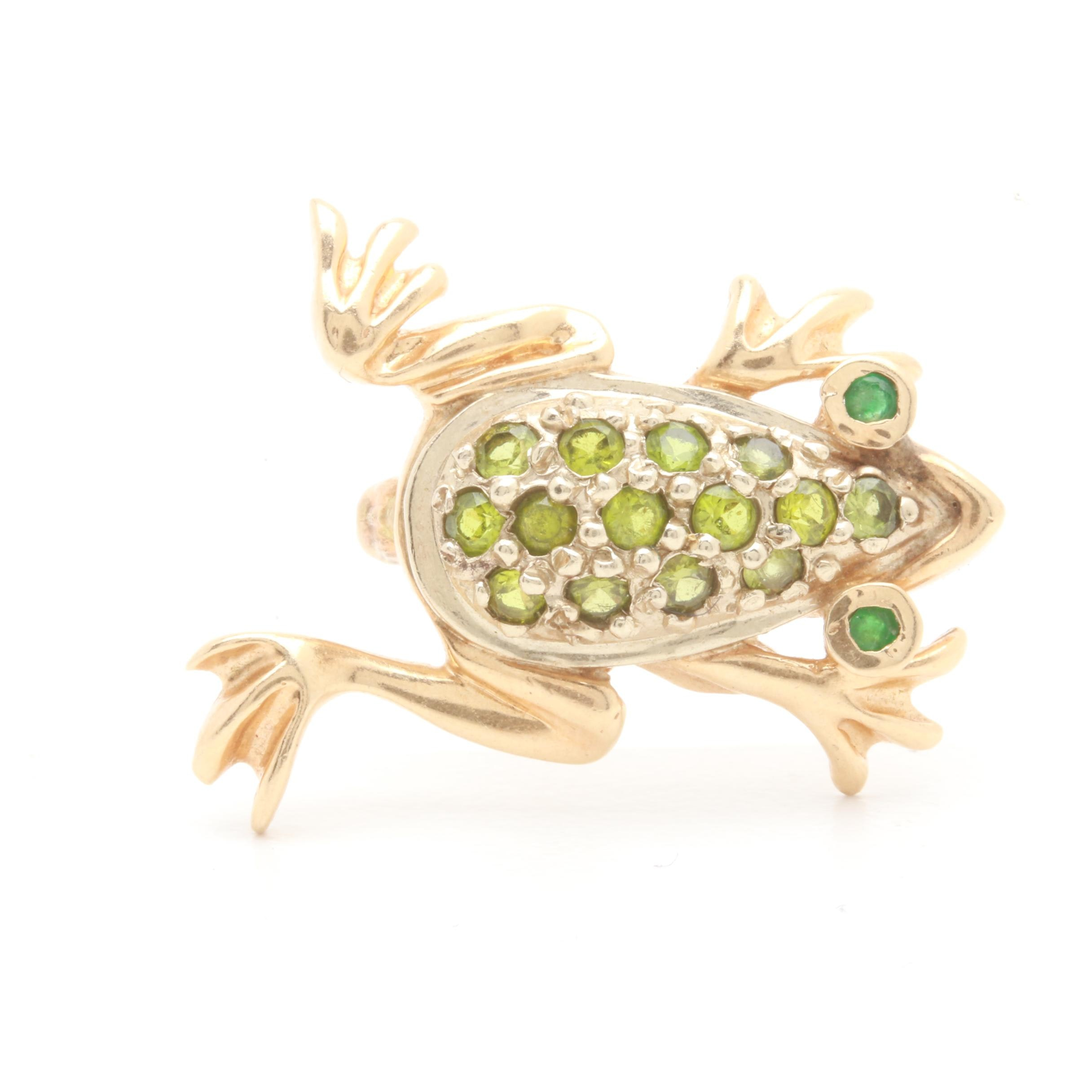14K Yellow Gold Peridot and Emerald Frog Brooch