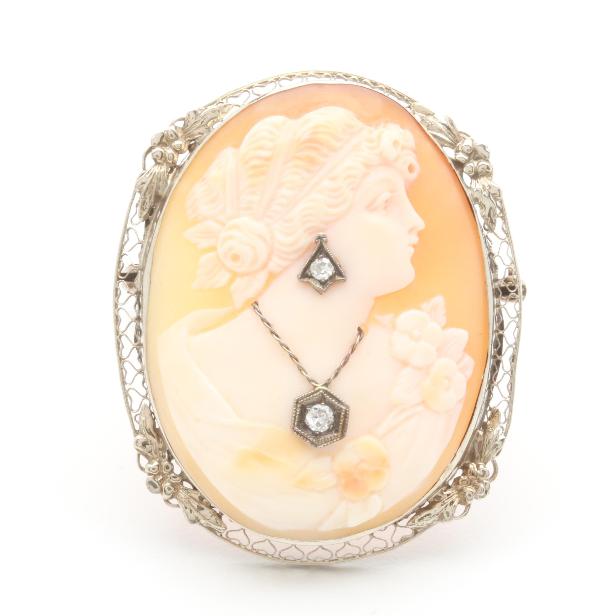 Circa 1930s 14K White Gold Shell and Diamond Habillé Cameo Brooch