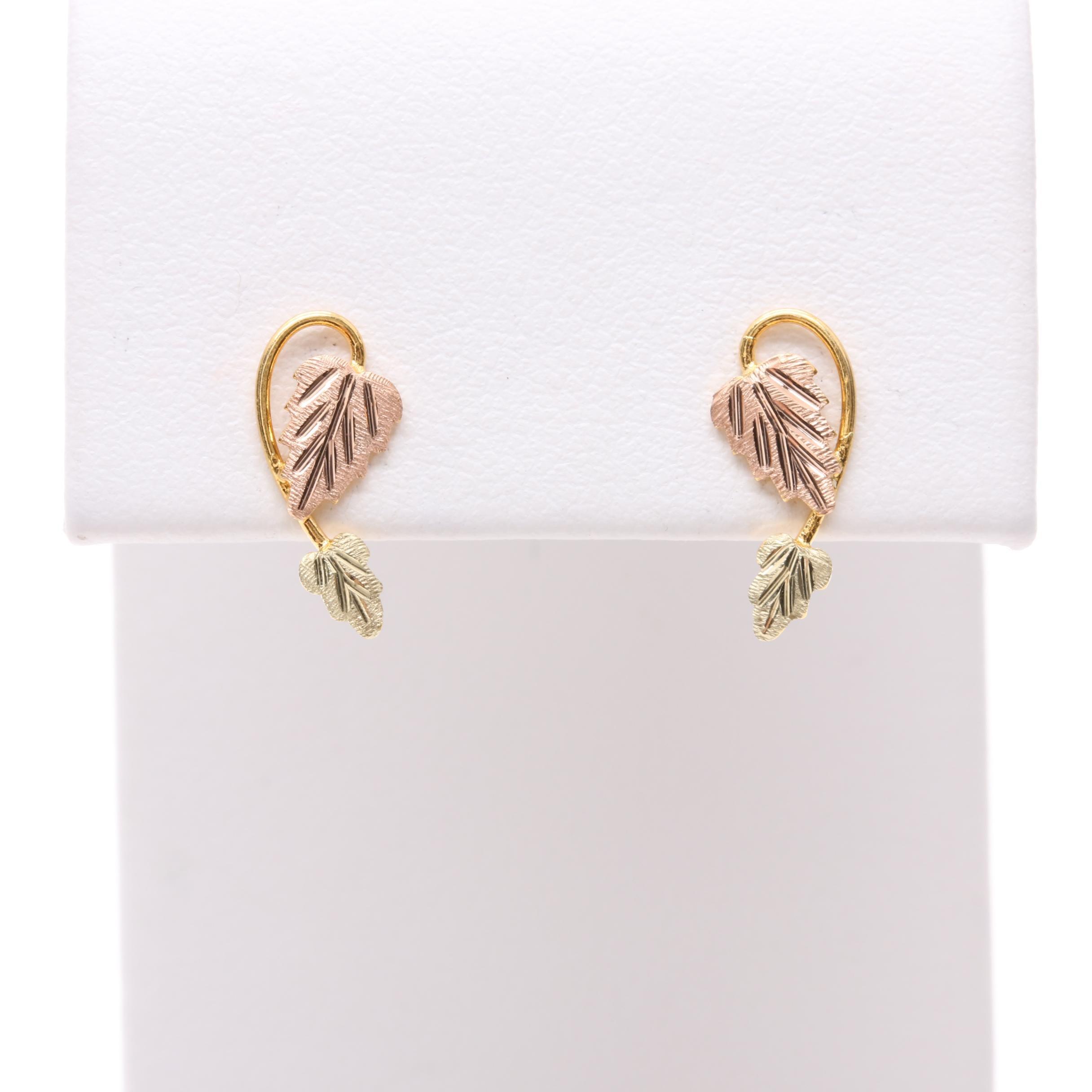 Black Hills Gold 12K and 14K Tri-Gold Leaf Earrings