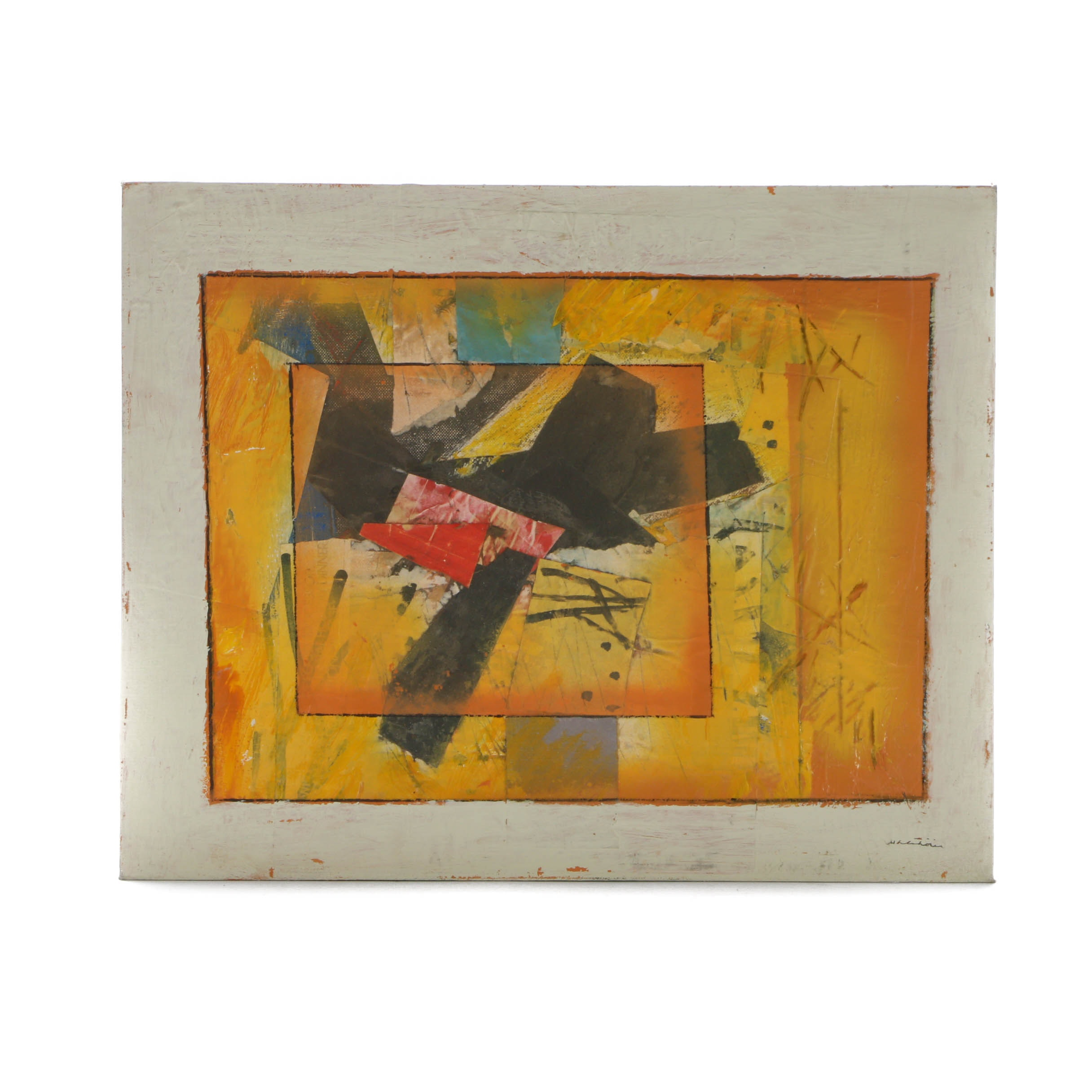 Ronald Ahlström Original Signed Mixed Media Collage on Canvas Board