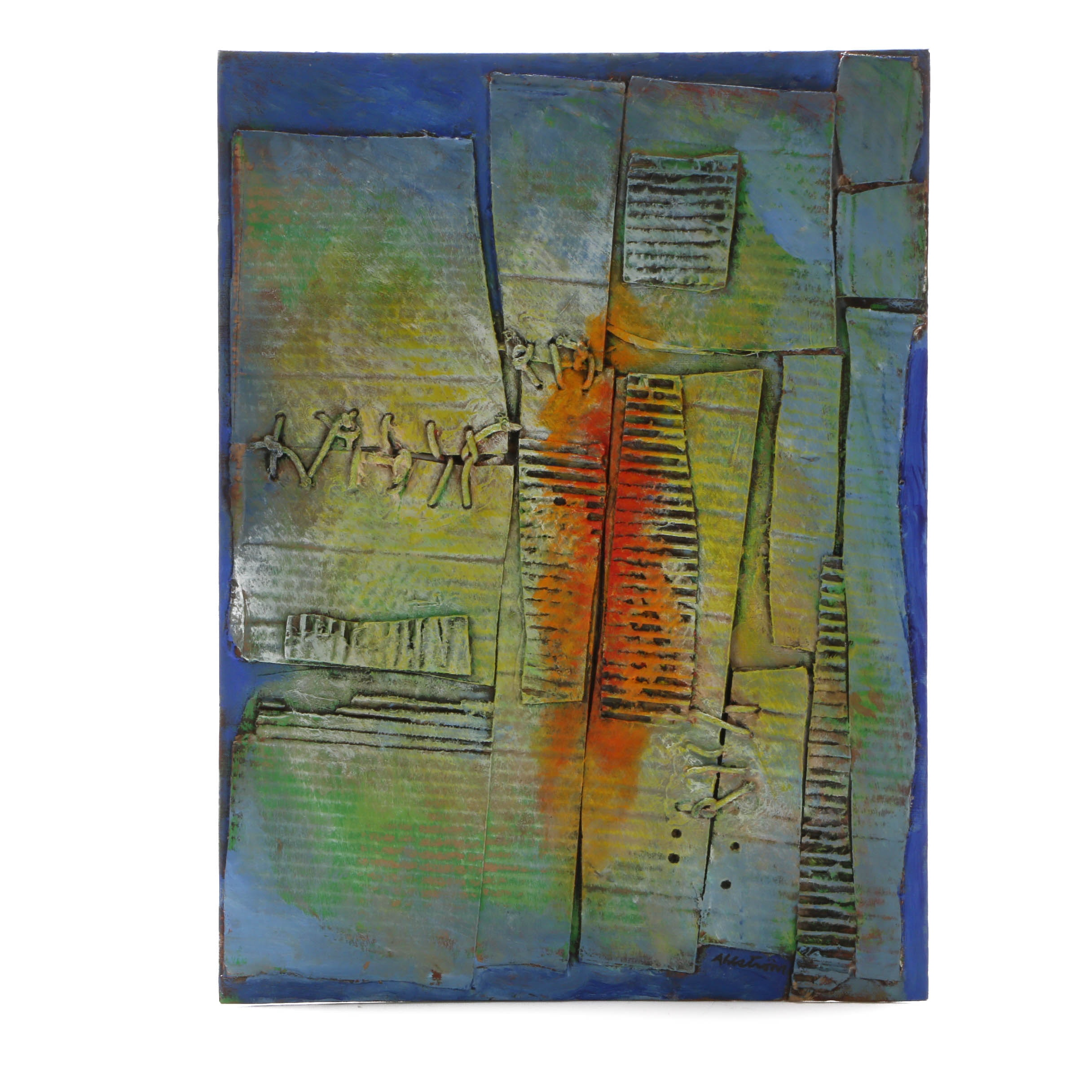 Ronald Ahlstrom Abstract Mixed Media Work on Canvas Board