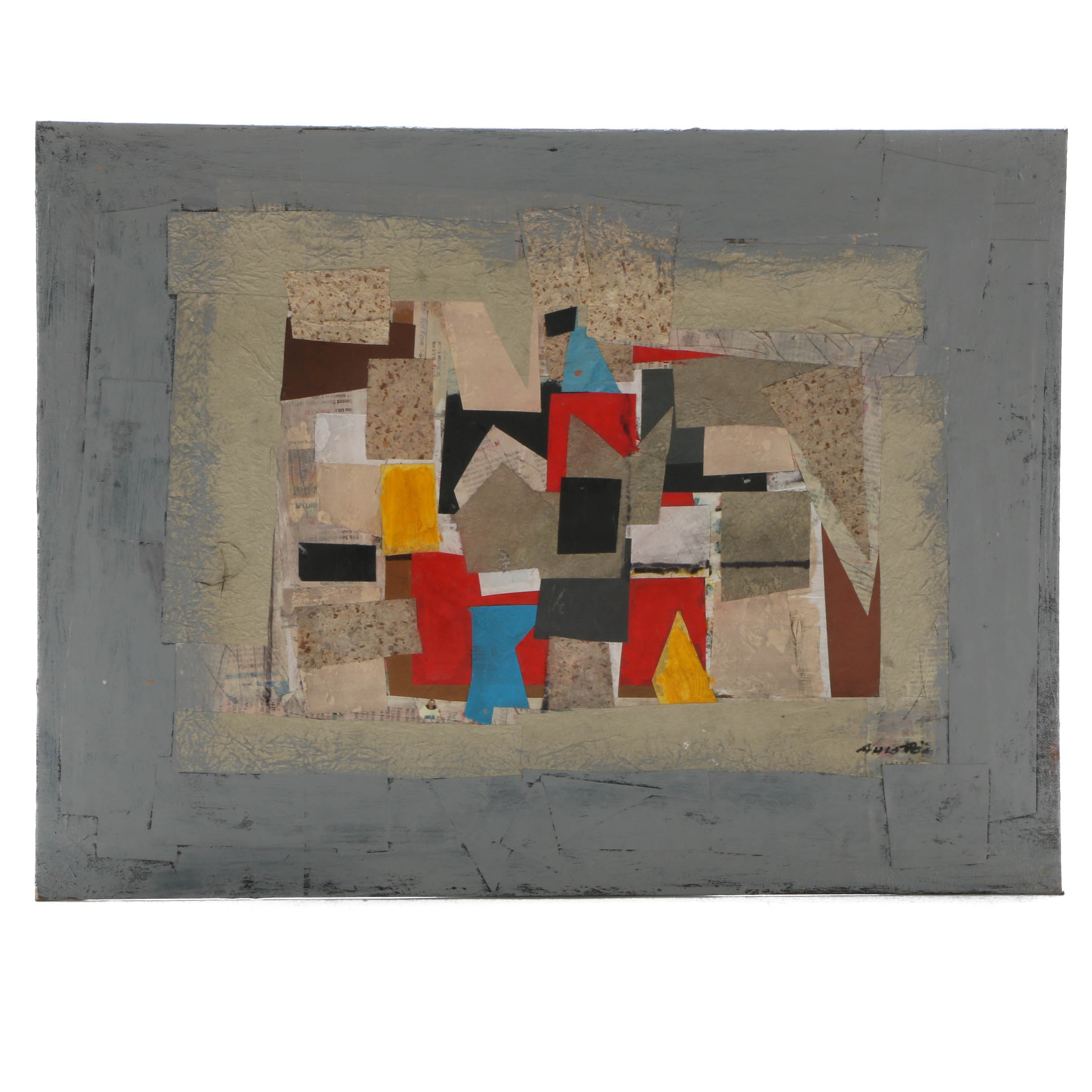Ronald Ahlstrom Abstract Mixed Media Collage on Canvas Board