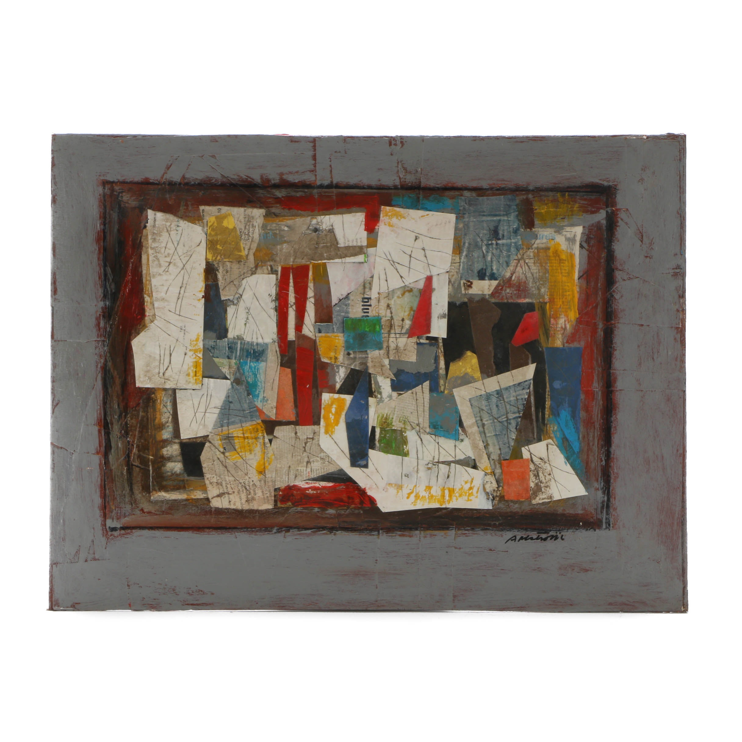 Ronald Ahlstrom Original Mixed Meida Collage on Canvas Board