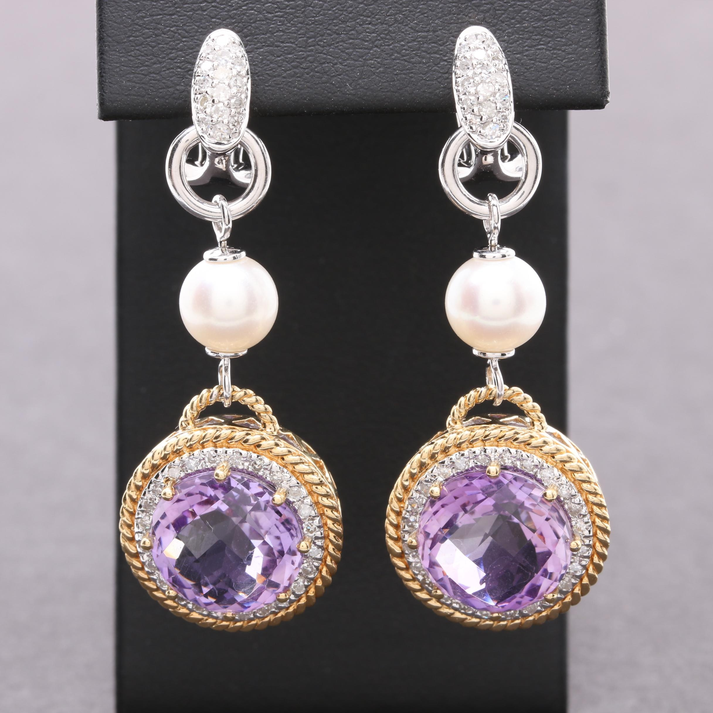 14K White and Yellow Gold Amethyst, Cultured Pearl, and Diamond Earrings