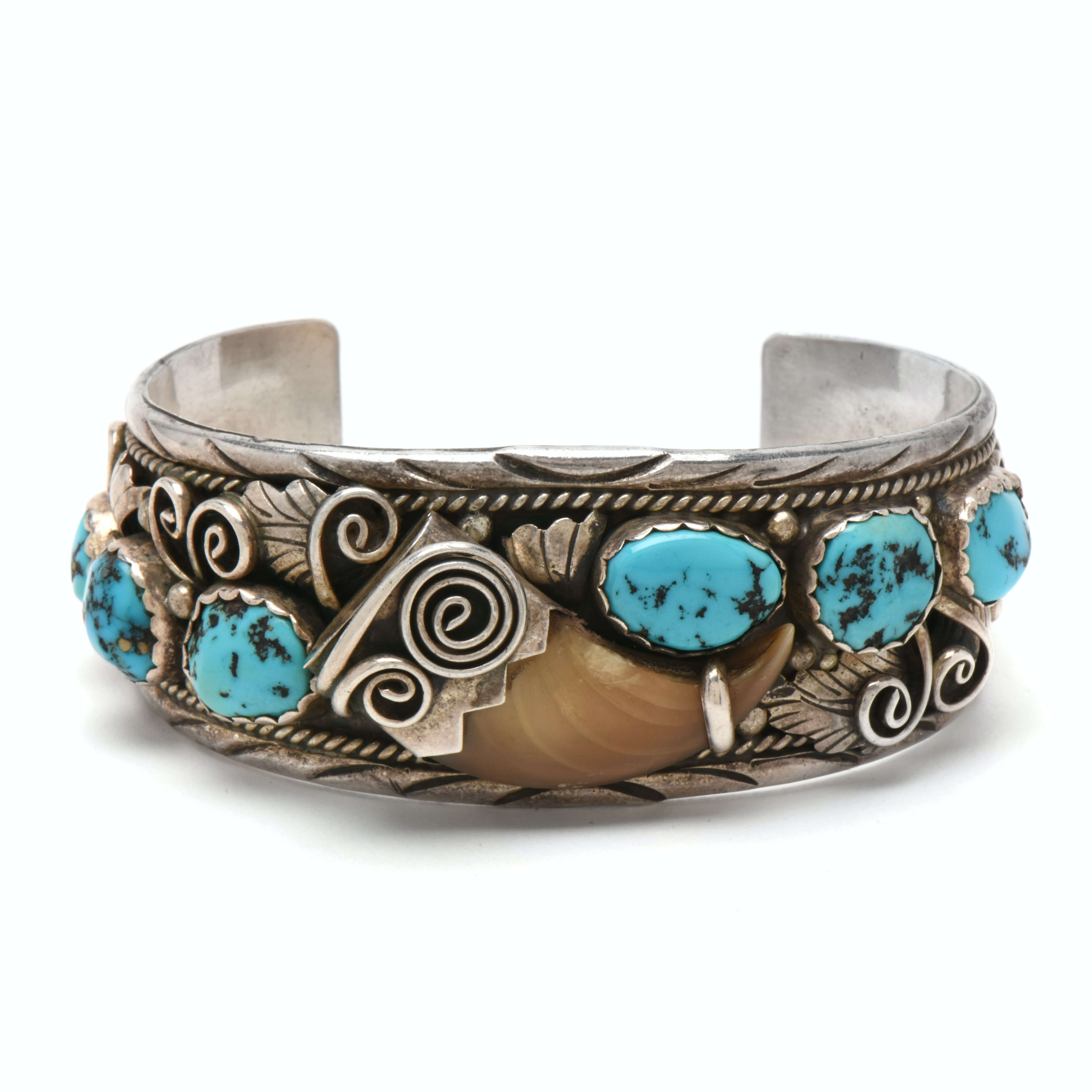 Navajo Diné M. Tsosie Sterling Silver Turquoise and Black Bear Claw Bracelet