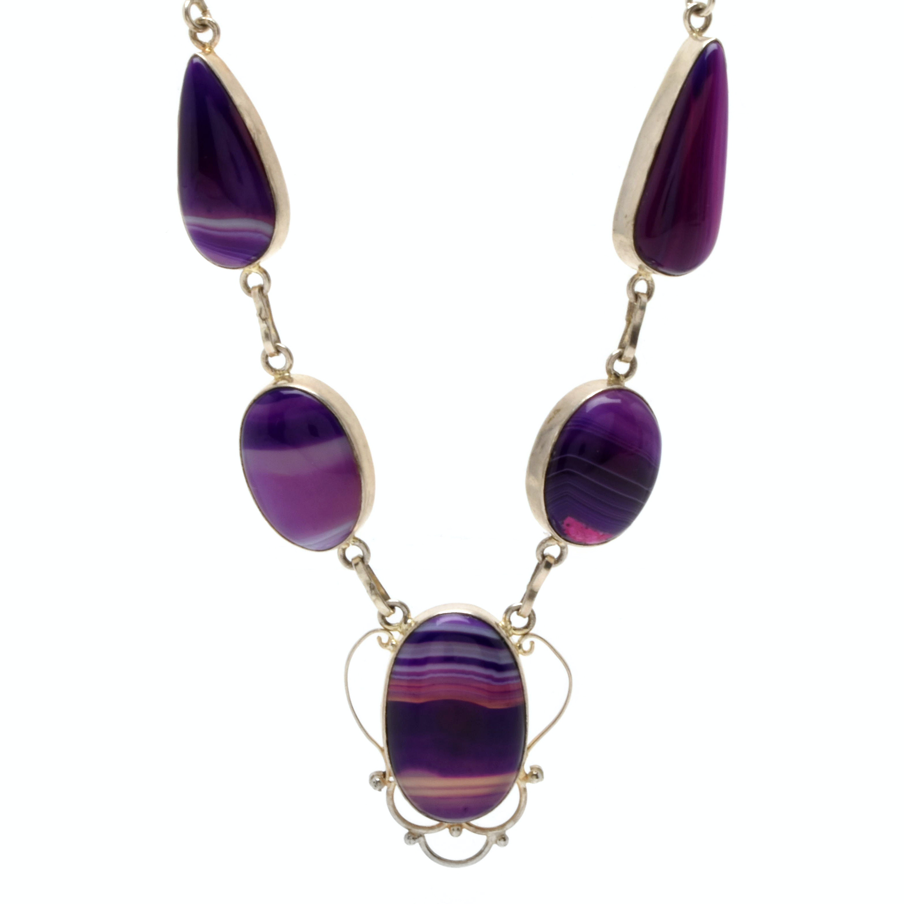 Sterling Silver Purpled Dyed Agate Cabochon Necklace