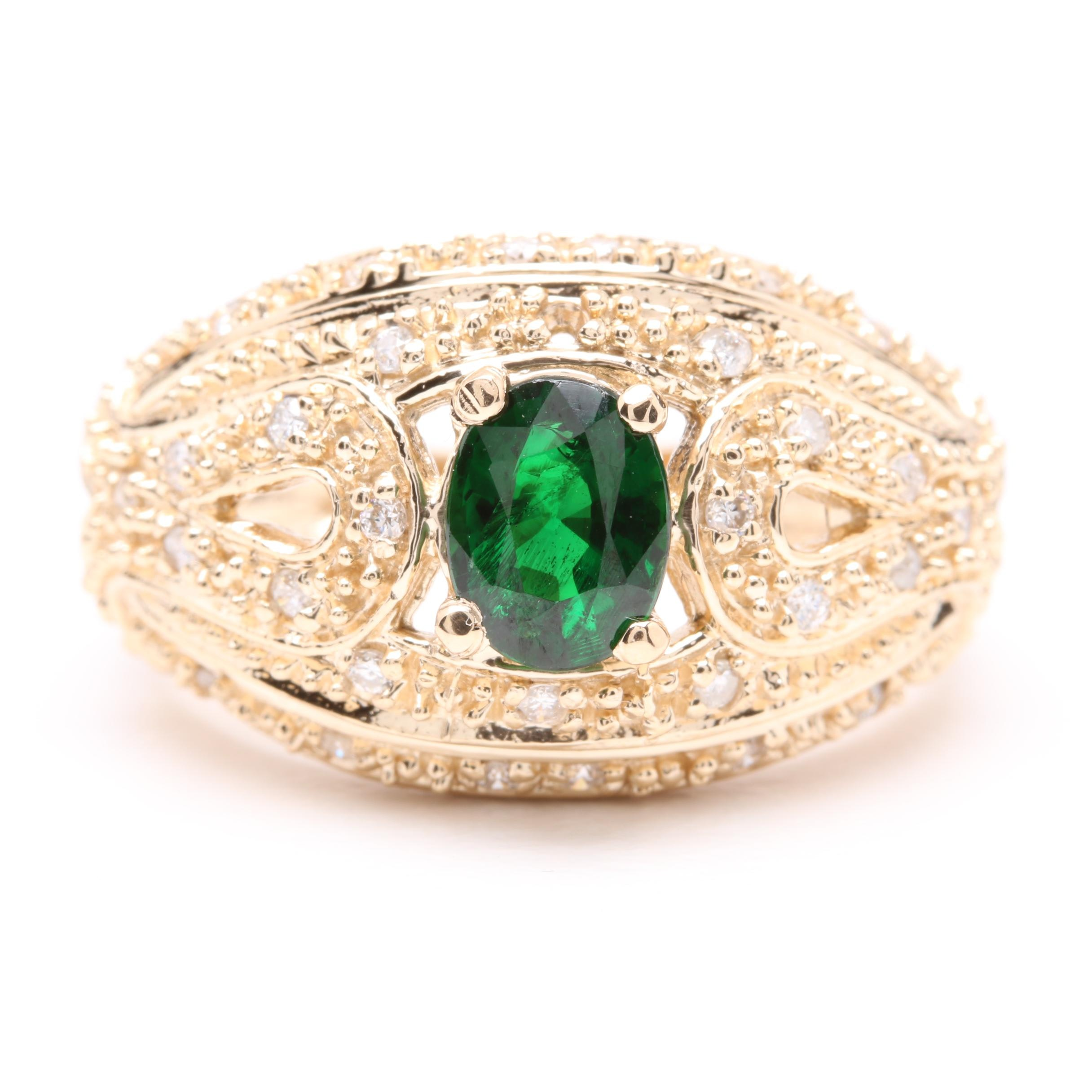 14K Yellow Gold Tsavorite Garnet and Diamond Ring