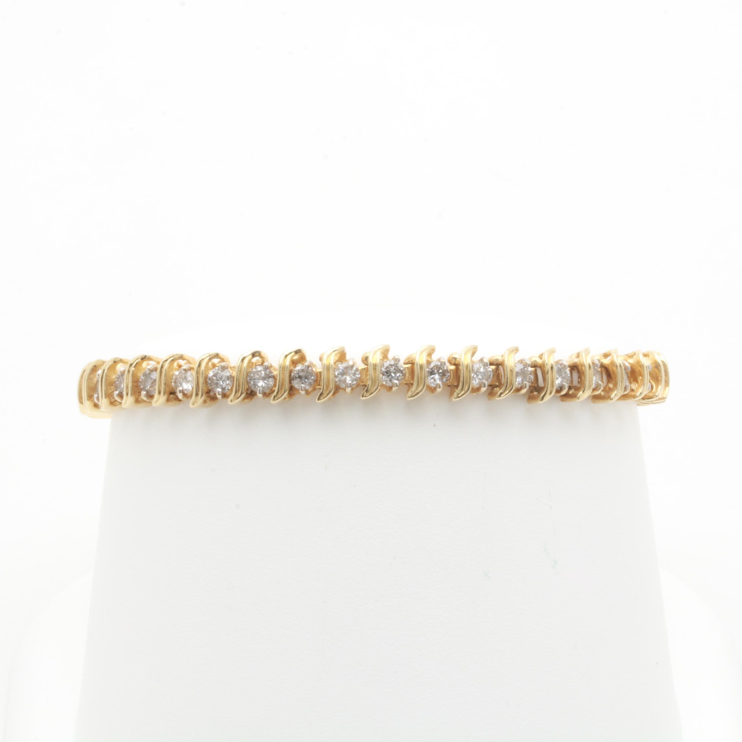 14K Yellow Gold 2.85 CTW Diamond Tennis Bracelet