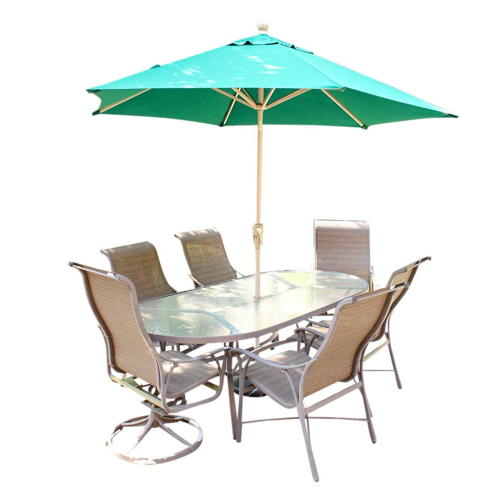 Tropitone Patio Dining Table With Six Chairs And Patio Umbrella ...