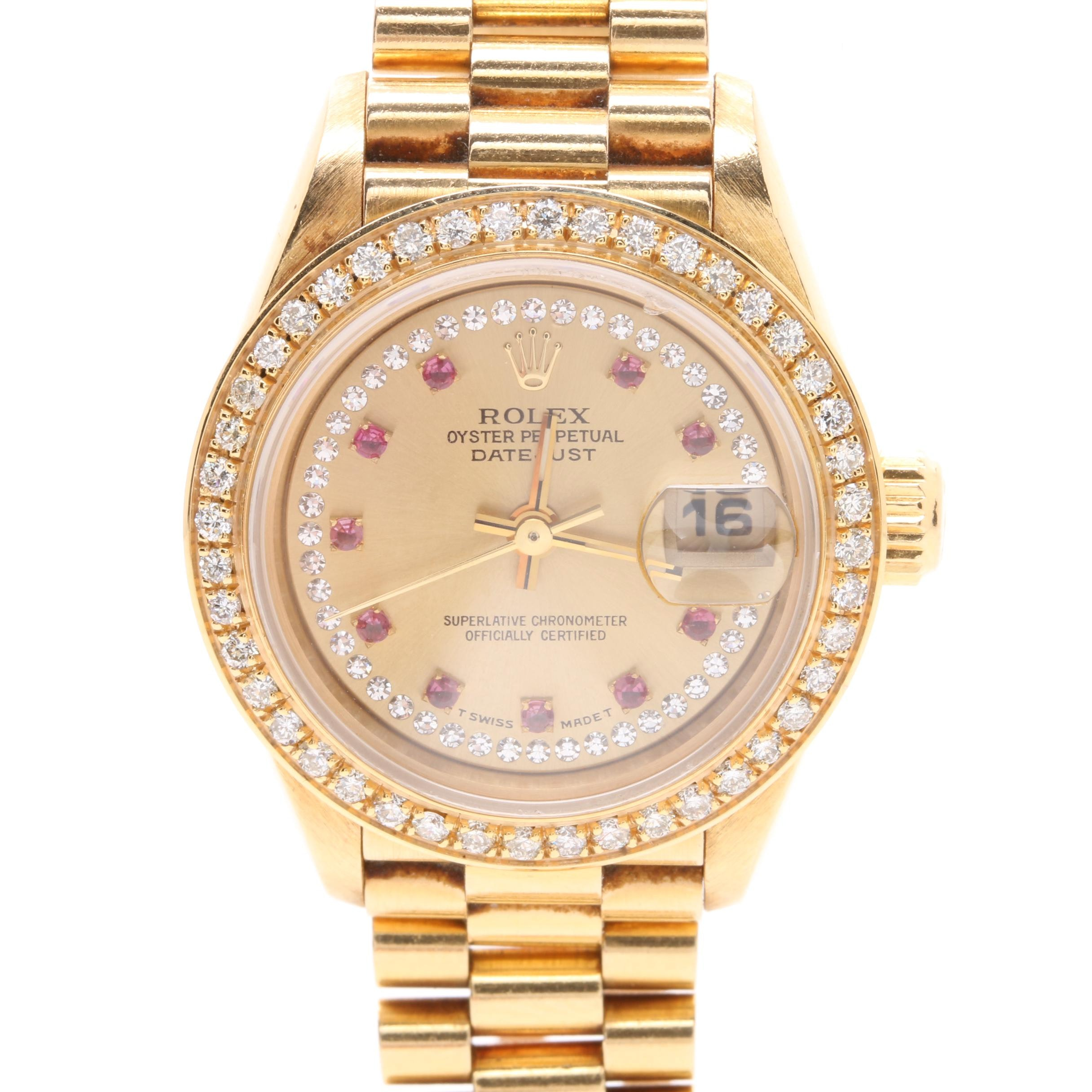 "Rolex ""Oyster Perpetual Datejust"" 18K Yellow Gold Diamond and Ruby Wristwatch"