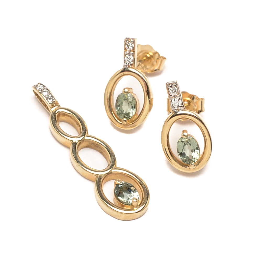 14K Yellow Gold Green Sapphire and Diamond Pendant and Earrings Set