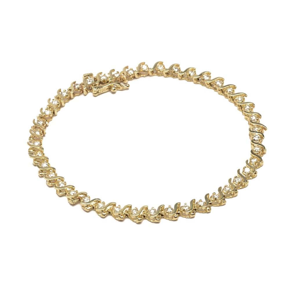 14K Yellow Gold 1.78 CTW Diamond Tennis Bracelet