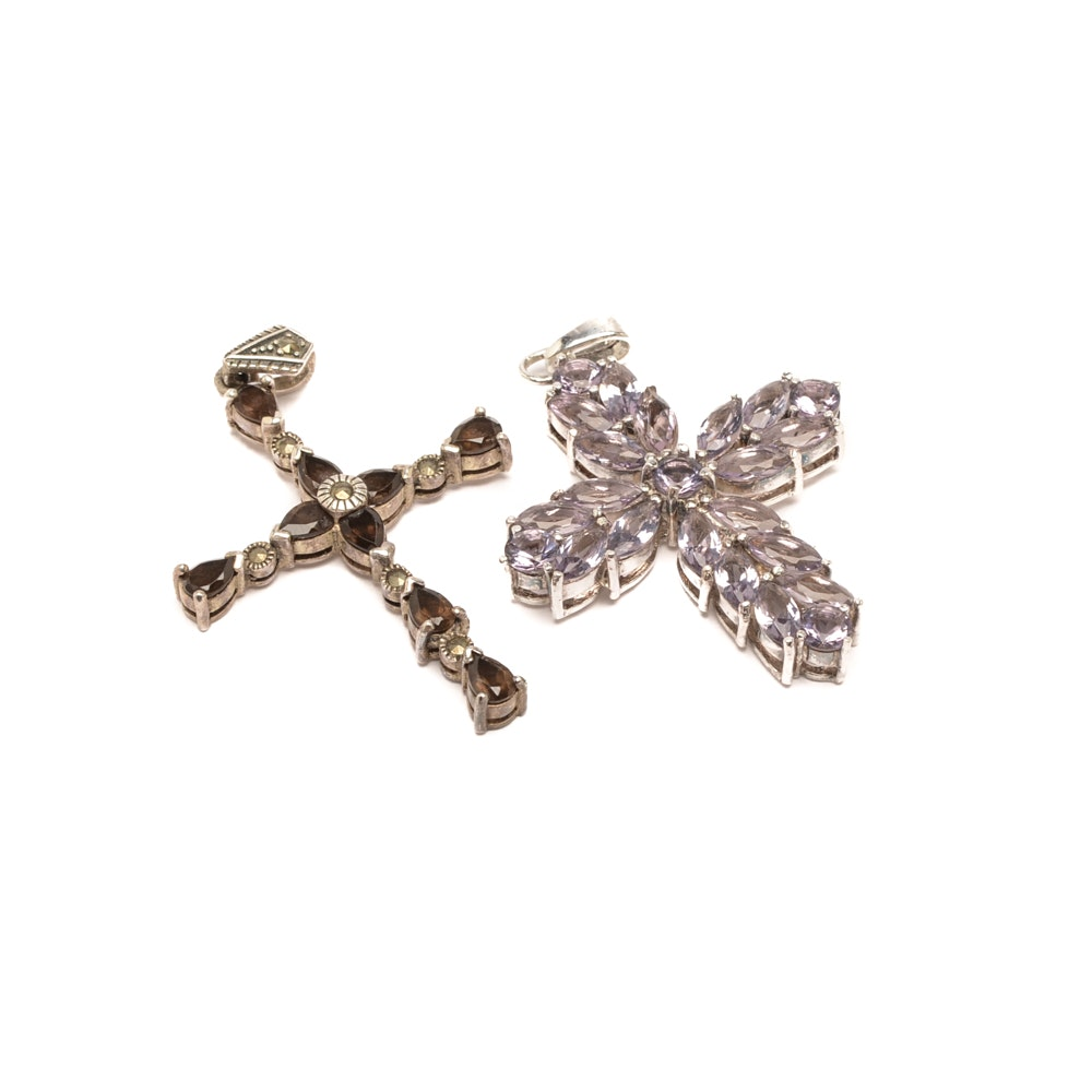 Sterling Silver Smoky Quartz and Glass Cross Pendants