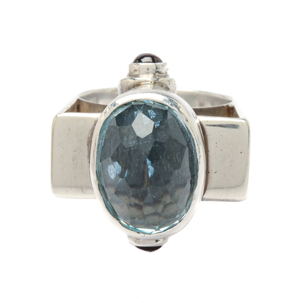 Sterling Silver Blue Topaz Ring with Rhodolite Garnet Accents