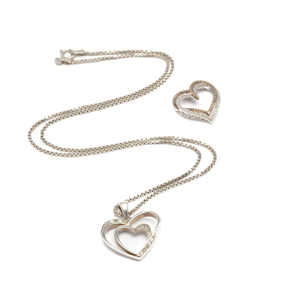 Sterling Silver and Diamond Heart Necklace with Heart Pendant