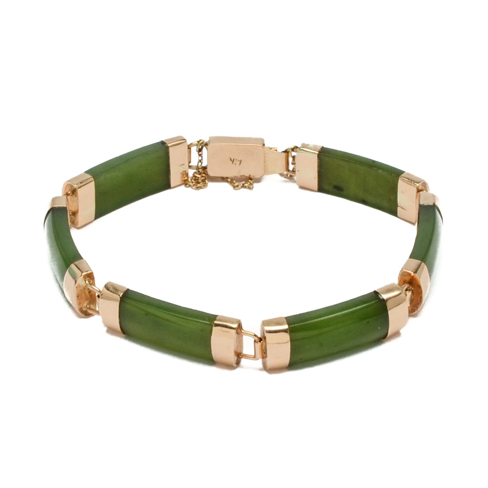 14K Yellow Gold and Nephrite Linked Bracelet