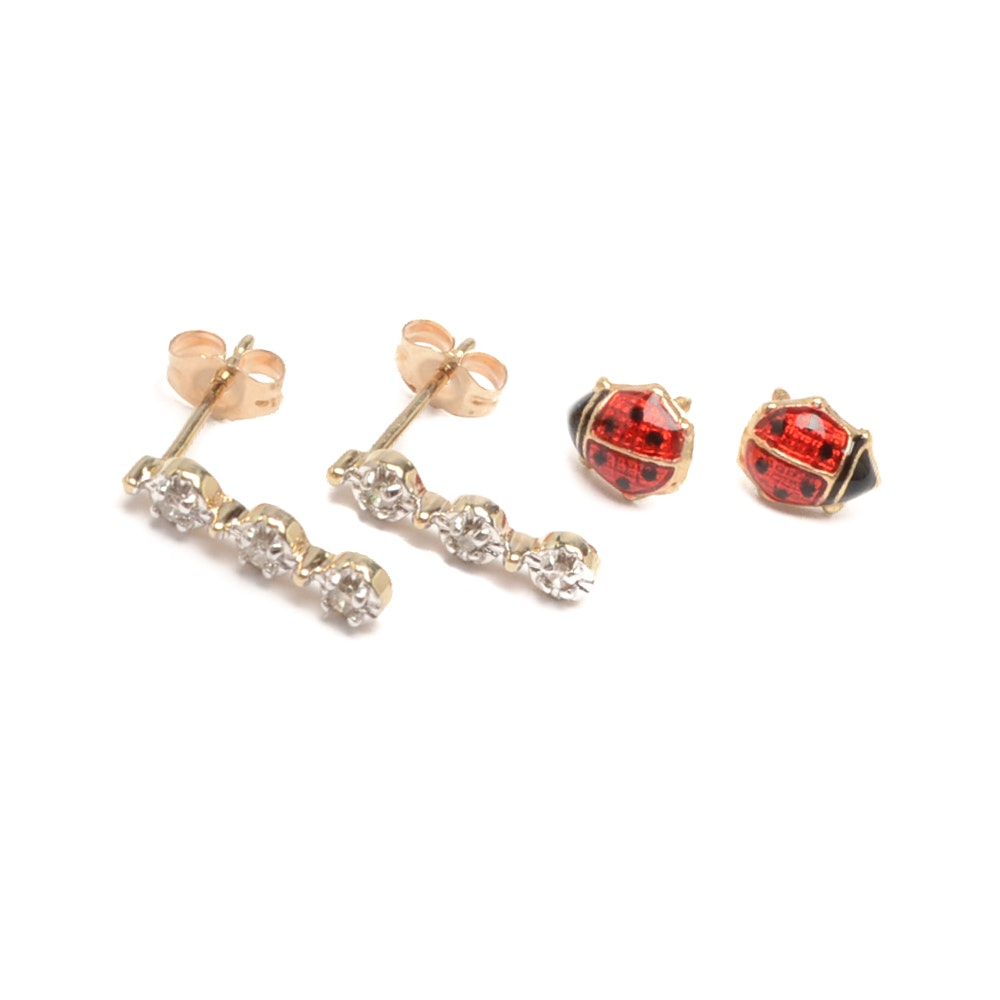 14K Yellow Gold Enamel Lady Bug Earrings with 10K Yellow Gold Diamond Earrings