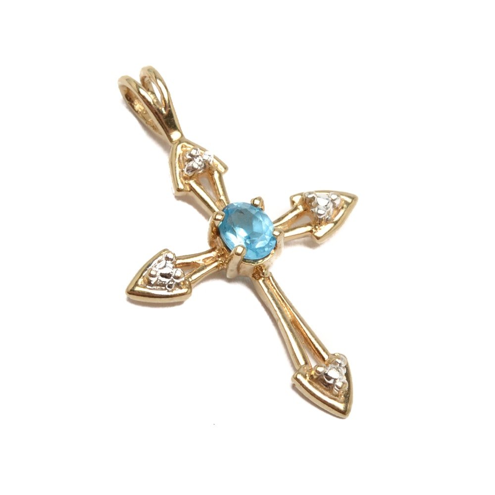 10K Yellow Gold Topaz and Diamond Cross Pendant