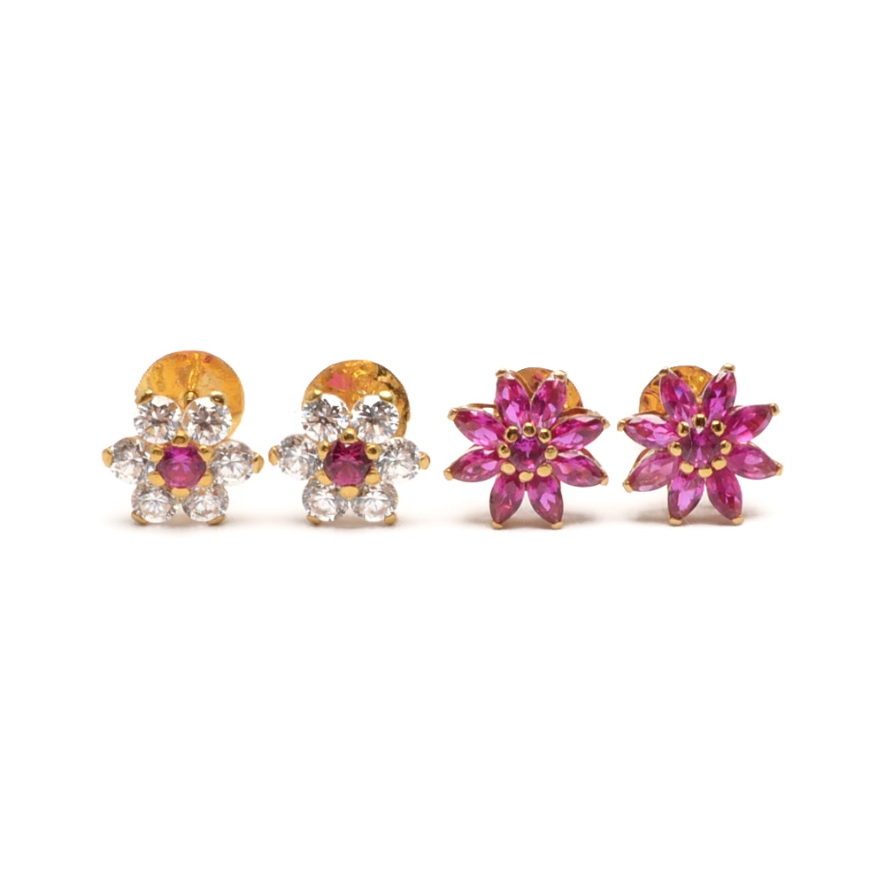 Selection of 14K Yellow Gold Ruby and Cubic Zirconia Earrings