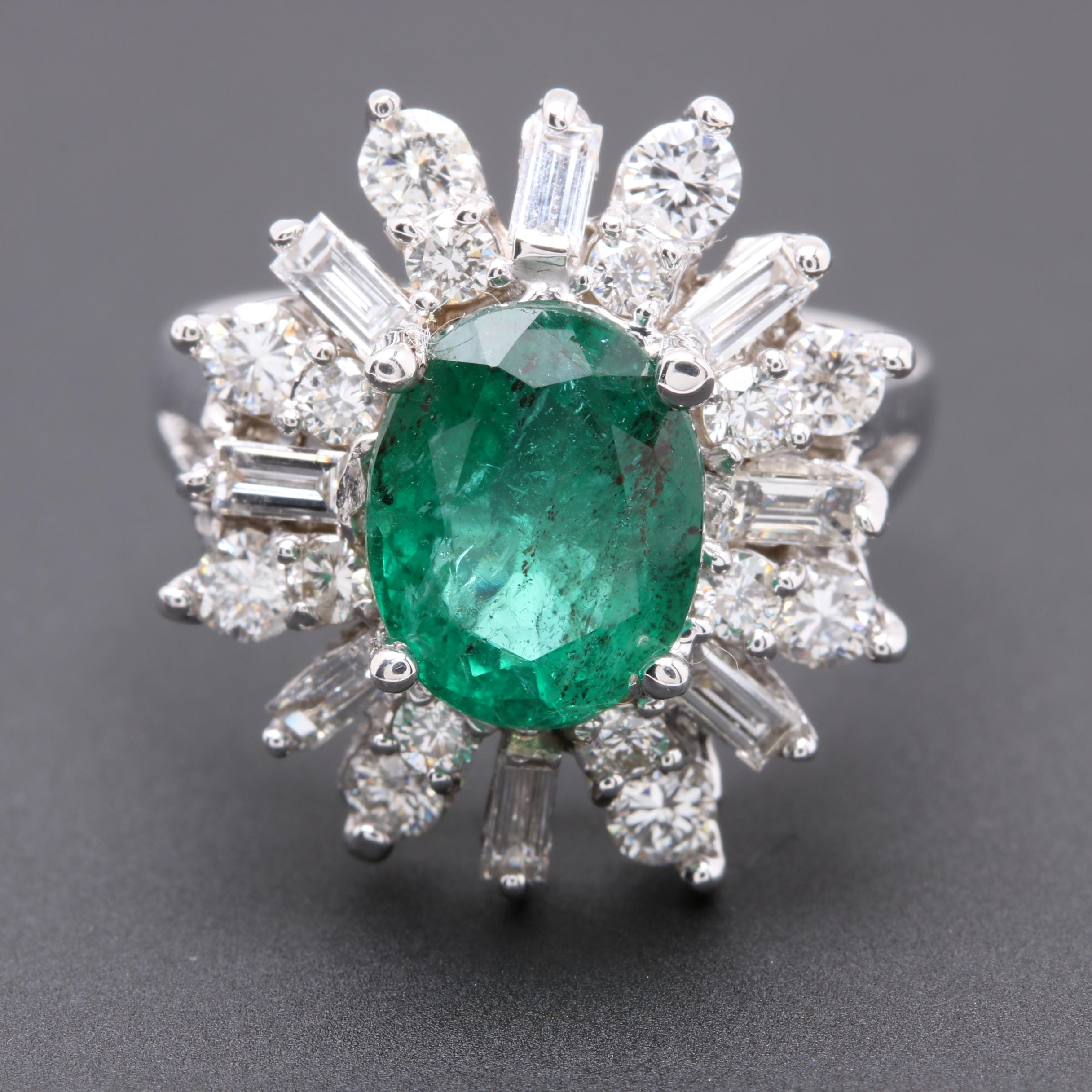 14K White Gold 2.44 CT Emerald and 1.72 CTW Diamond Ring