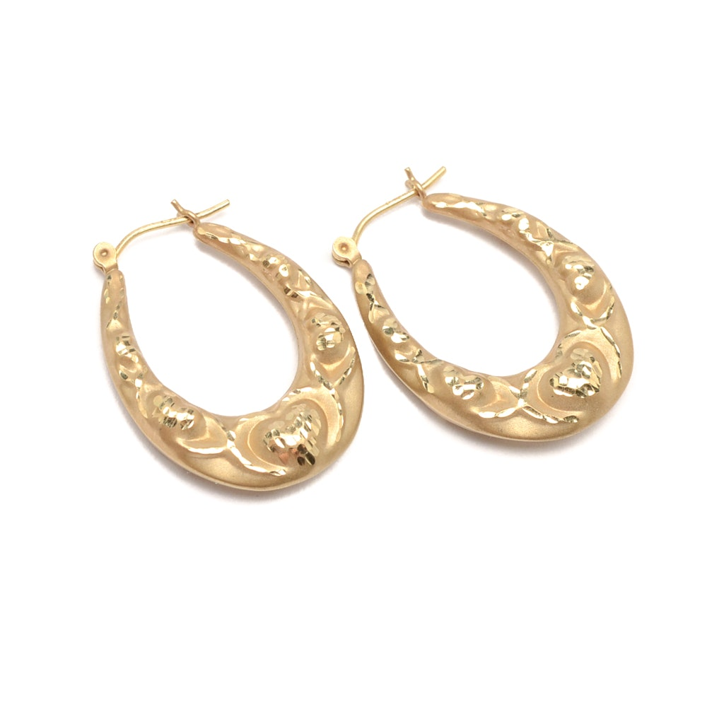 14K Yellow Gold Hoop Earrings with Embossed Heart Designs