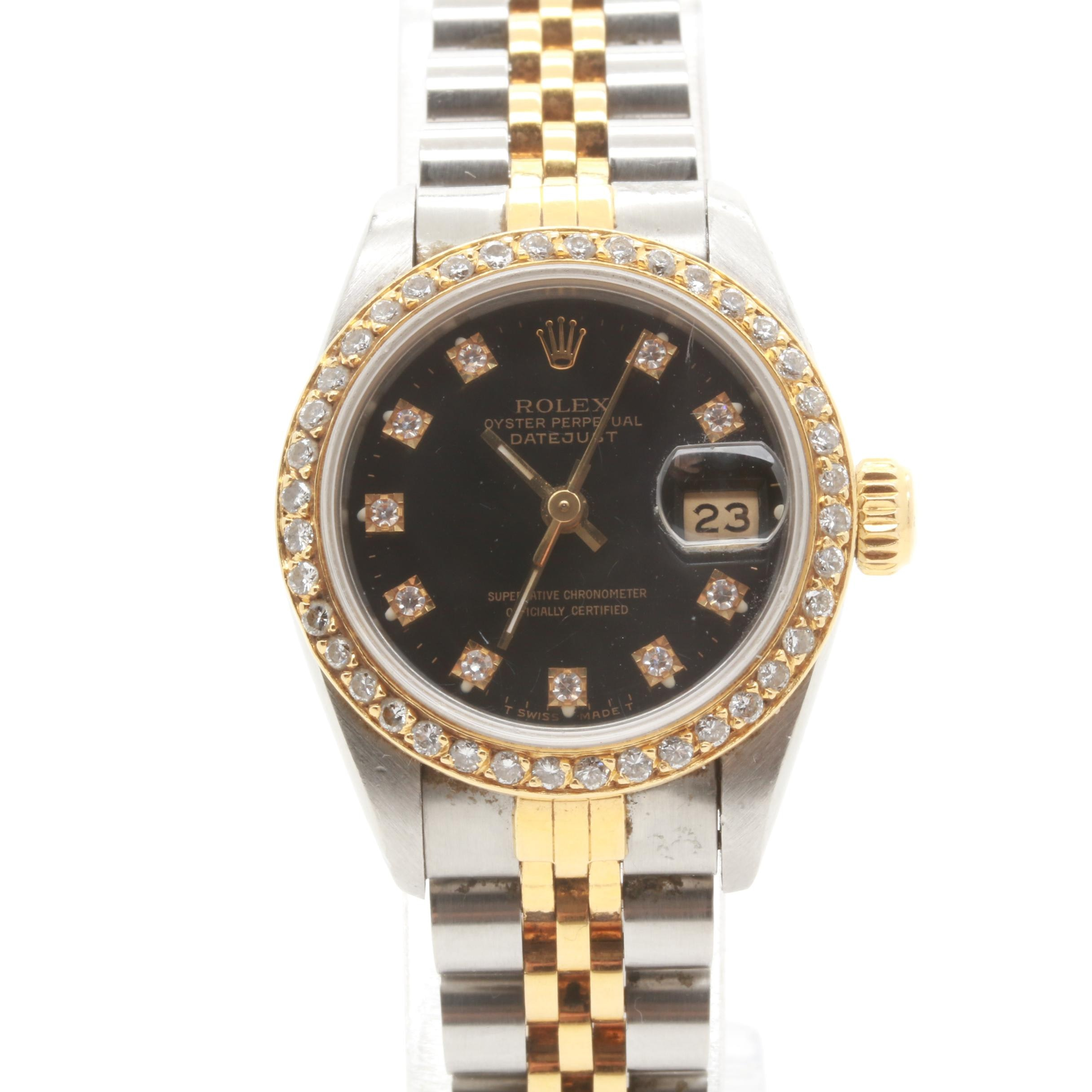 Circa 1990 Rolex Stainless Steel and 18K Yellow Gold Diamond Wristwatch