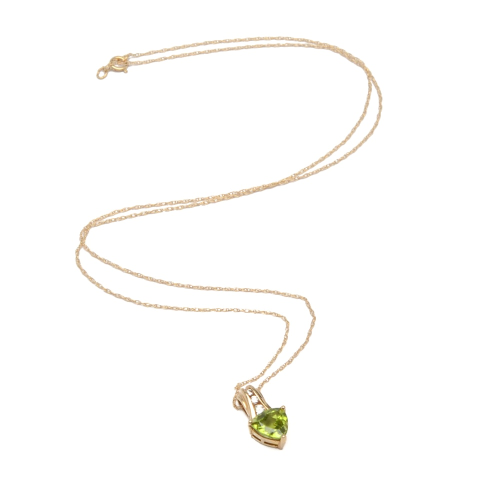 10K Yellow Gold Peridot Necklace with Cubic Zirconia Accents