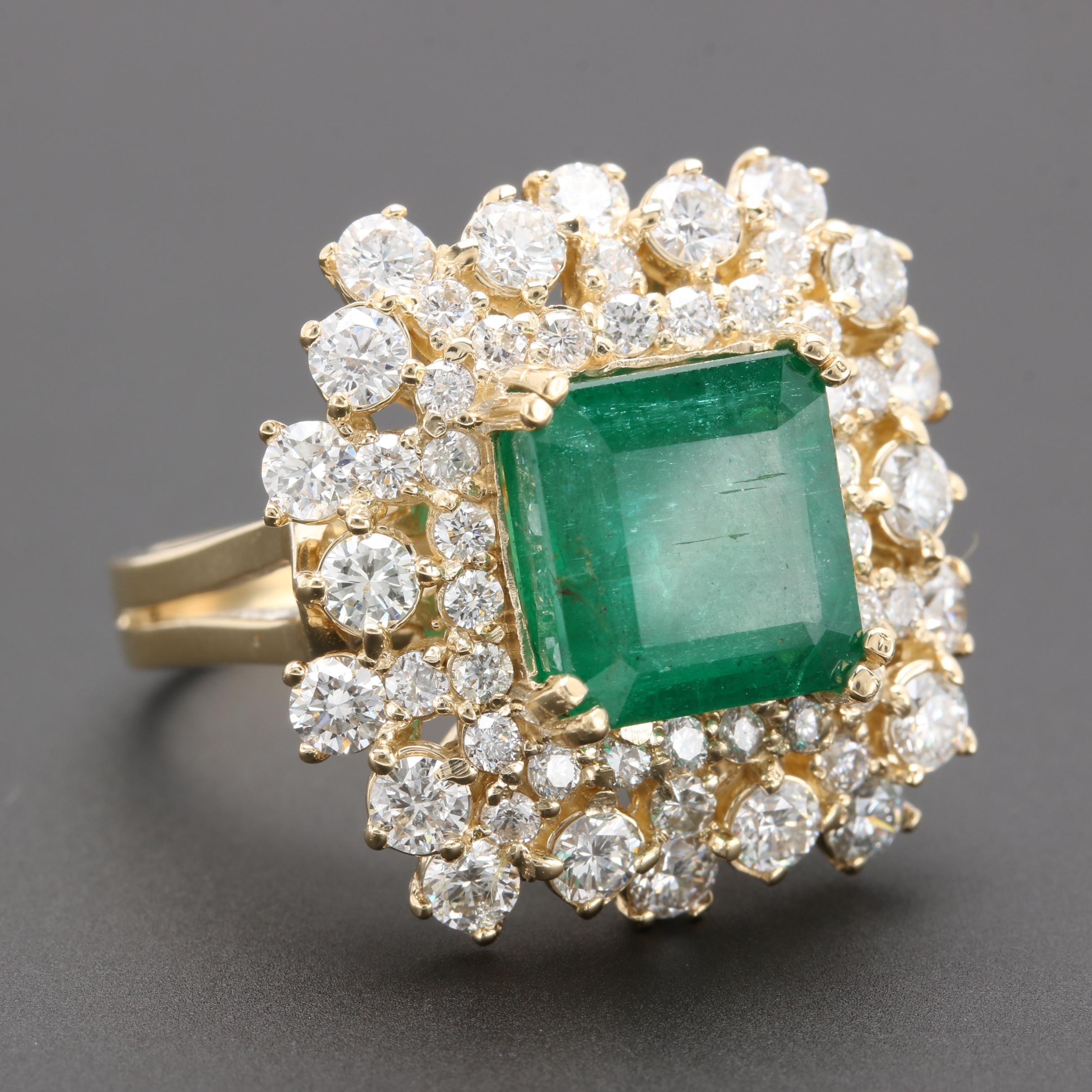 14K Yellow Gold 4.51 CT Emerald and 1.97 CTW Diamond Ring
