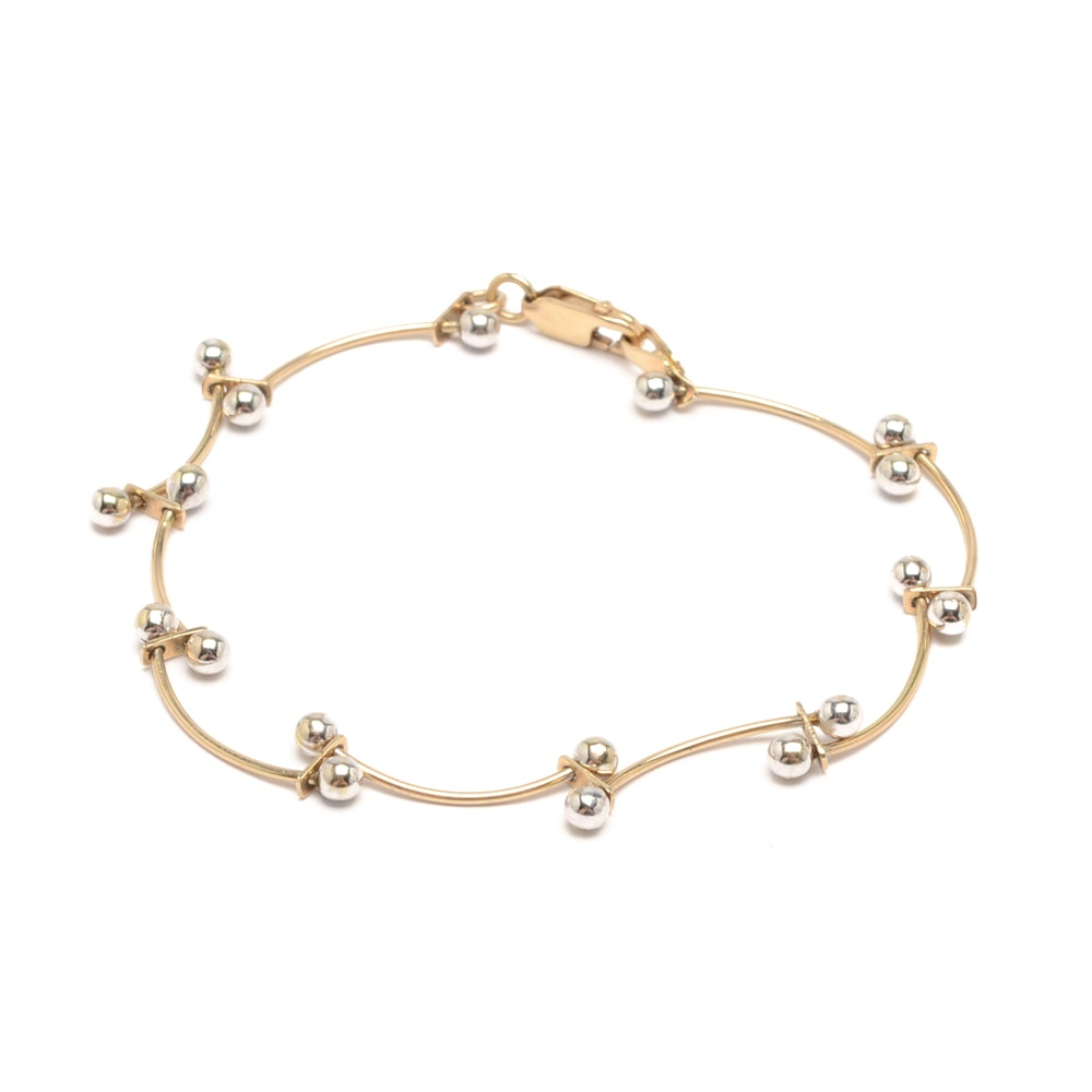 14K Yellow and White Gold Curved Link and Ball Bracelet