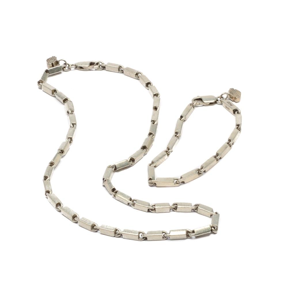 Sterling Silver Harley Davidson Linked Necklace and Bracelet Set