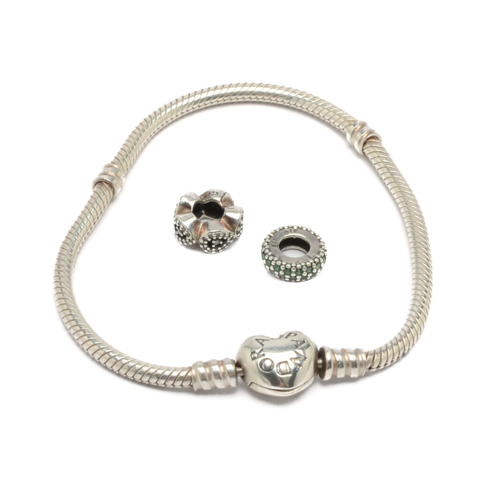 Pandora Sterling Silver Bracelet with Two Charms